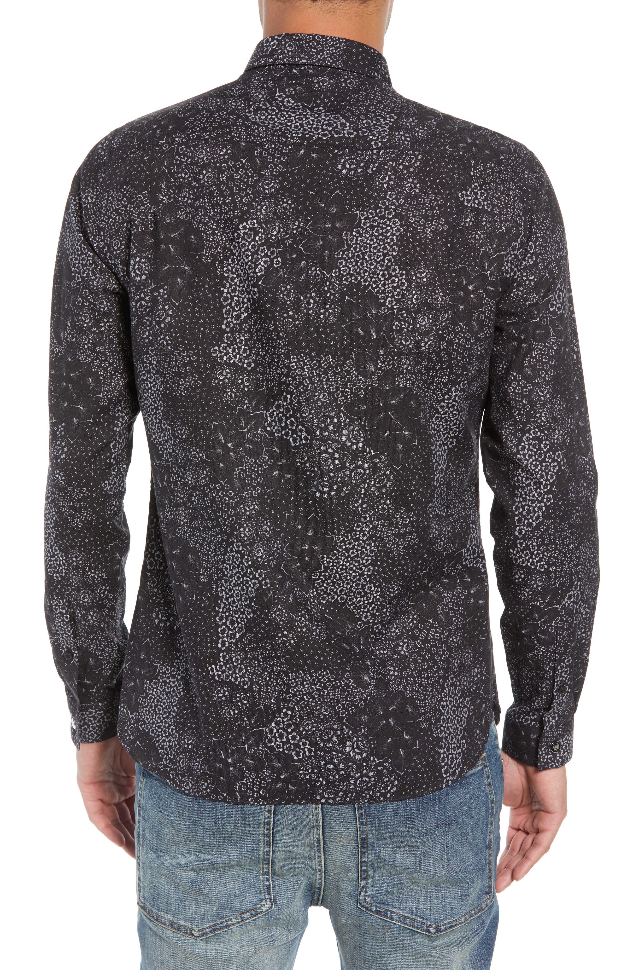 Slim Fit Print Sport Shirt,                             Alternate thumbnail 3, color,                             BLACK