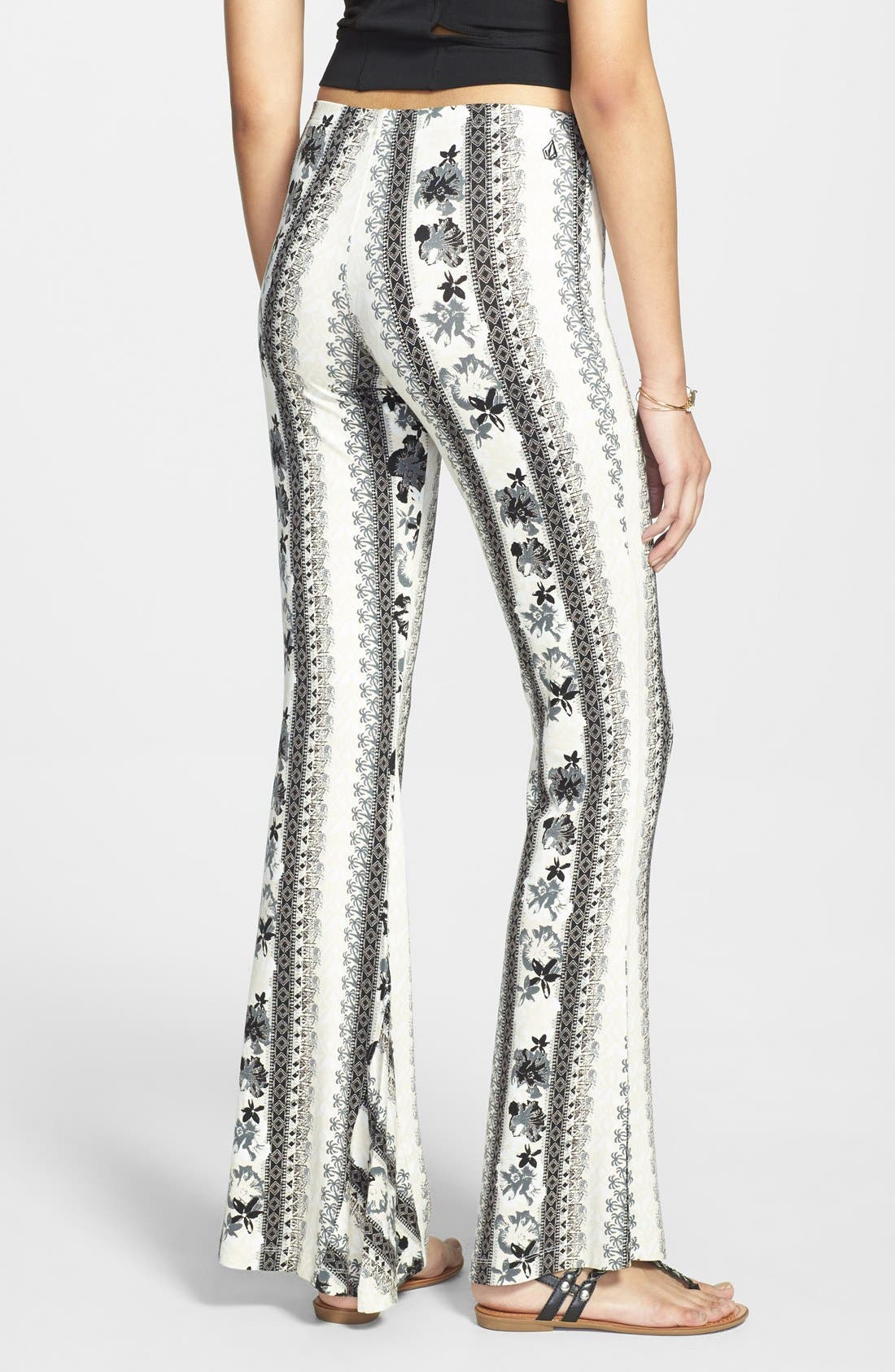 VOLCOM,                             'Skippin Town' Patterned Flare Pants,                             Alternate thumbnail 2, color,                             001