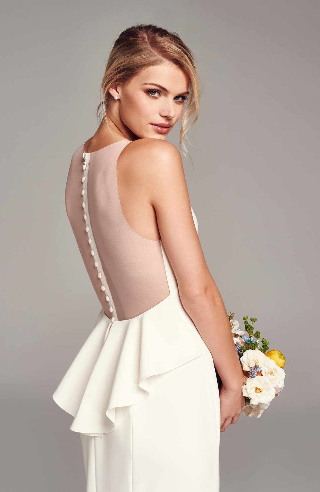 Back Detail Flared Silk Crepe Gown,                             Alternate thumbnail 5, color,                             IVORY
