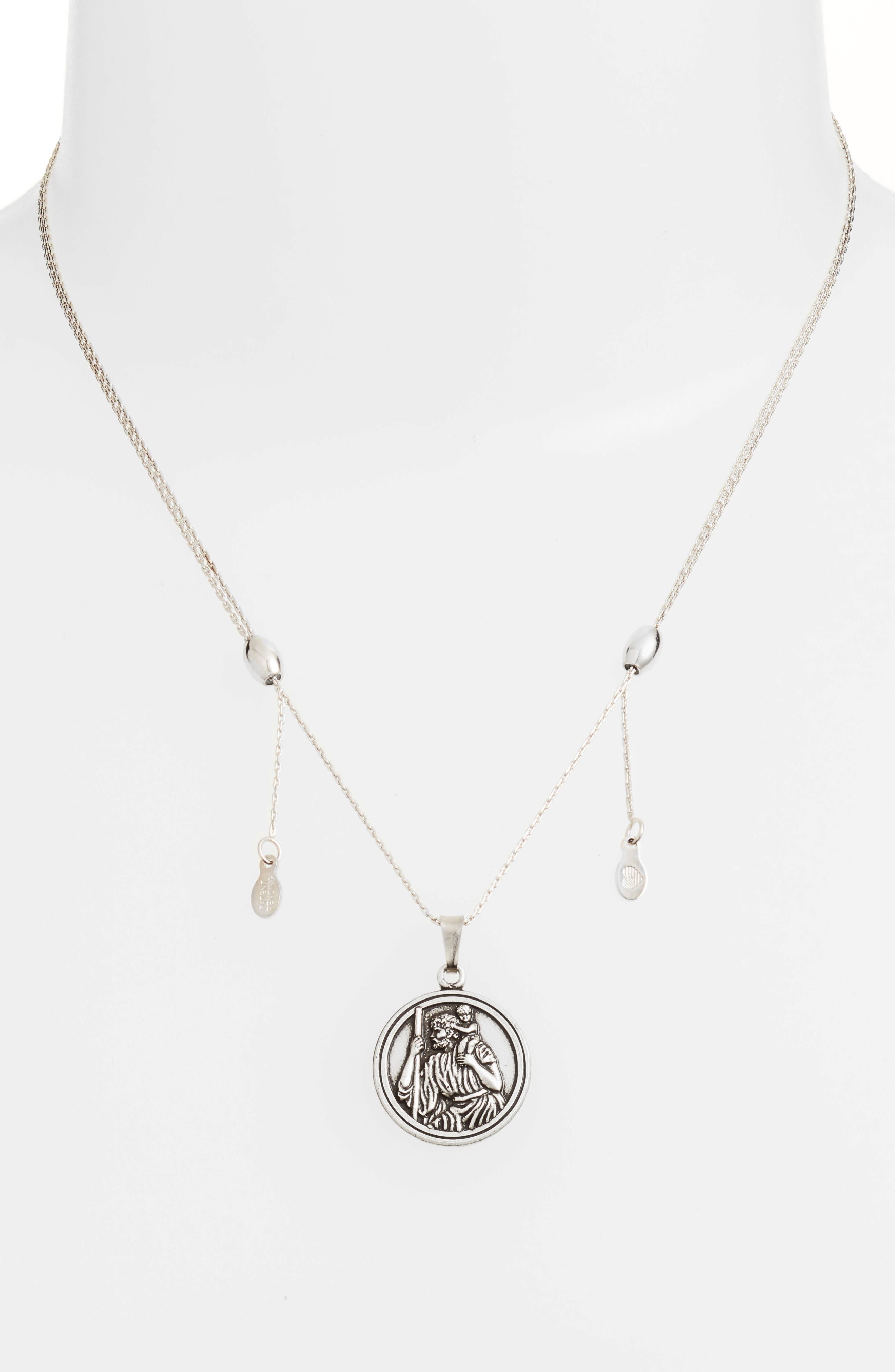 Saint Christopher Pendant Necklace,                             Alternate thumbnail 3, color,                             SILVER