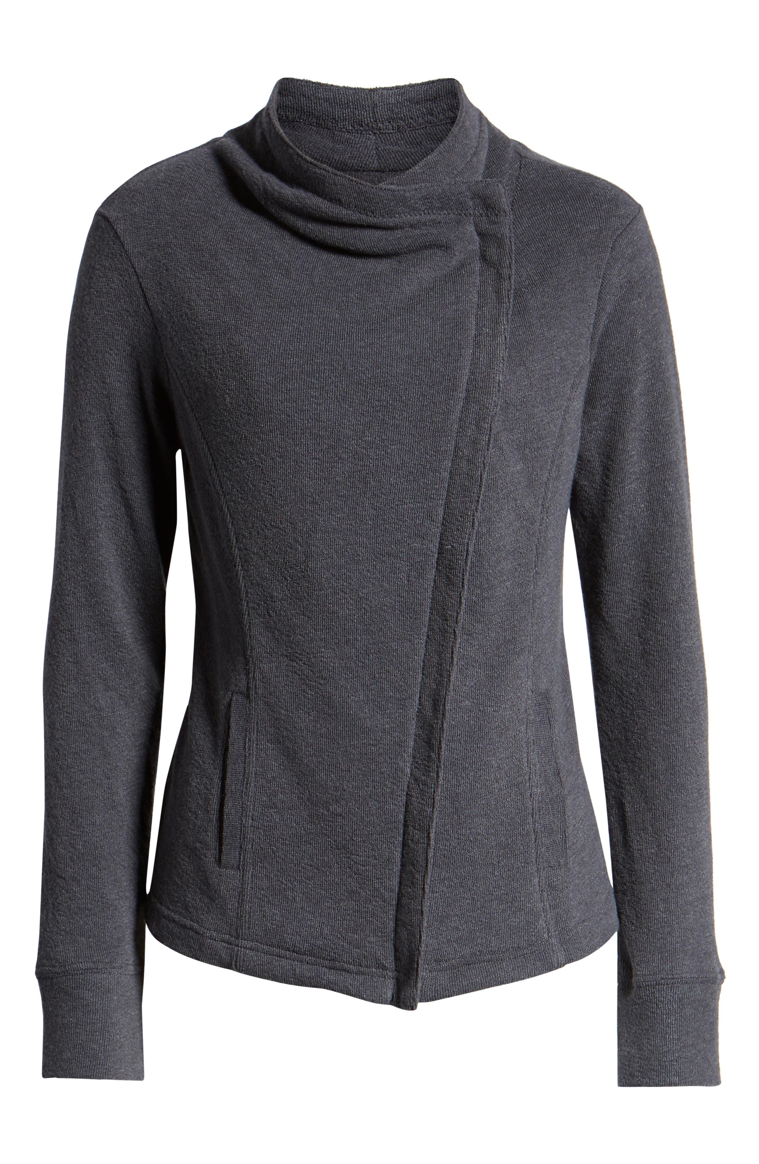 CASLON<SUP>®</SUP>,                             Knit Moto Jacket,                             Alternate thumbnail 6, color,                             GREY EBONY