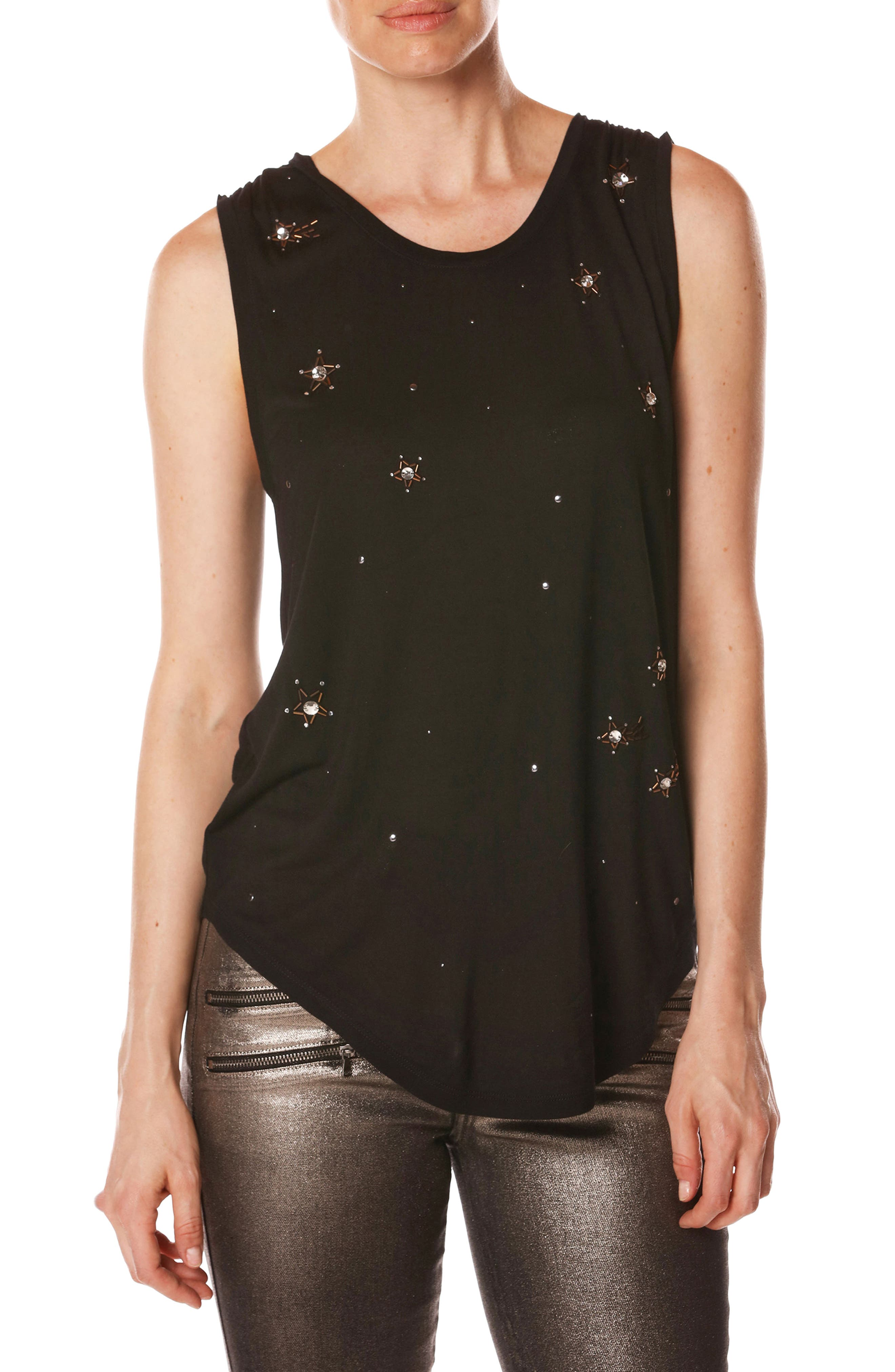 Rosie HW x PAIGE Kerstin Embellished Tank,                             Main thumbnail 1, color,                             001