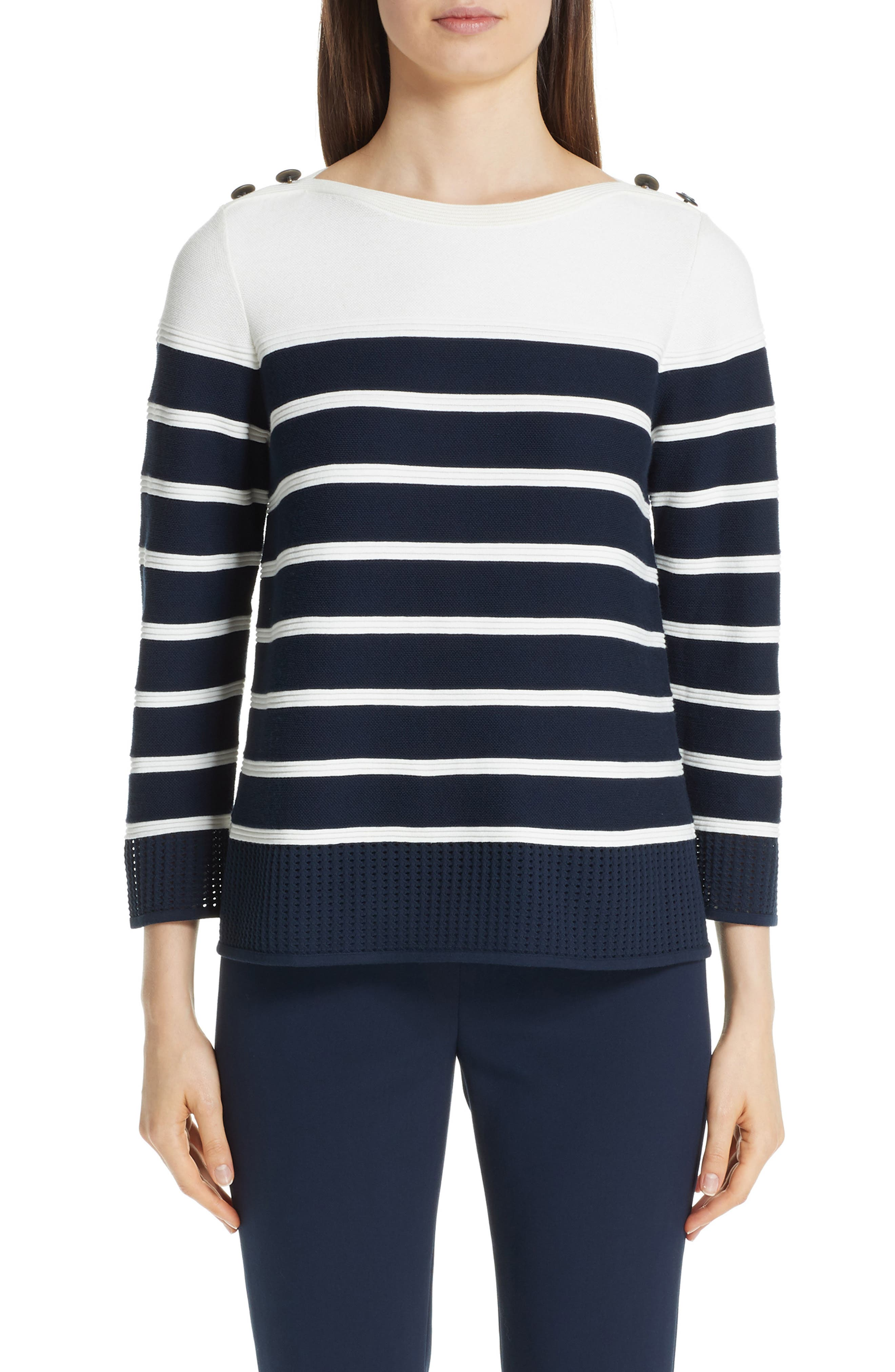 Boat-Neck Birdseye Mesh Knit Colorblock Striped Sweater in Cream/ Navy
