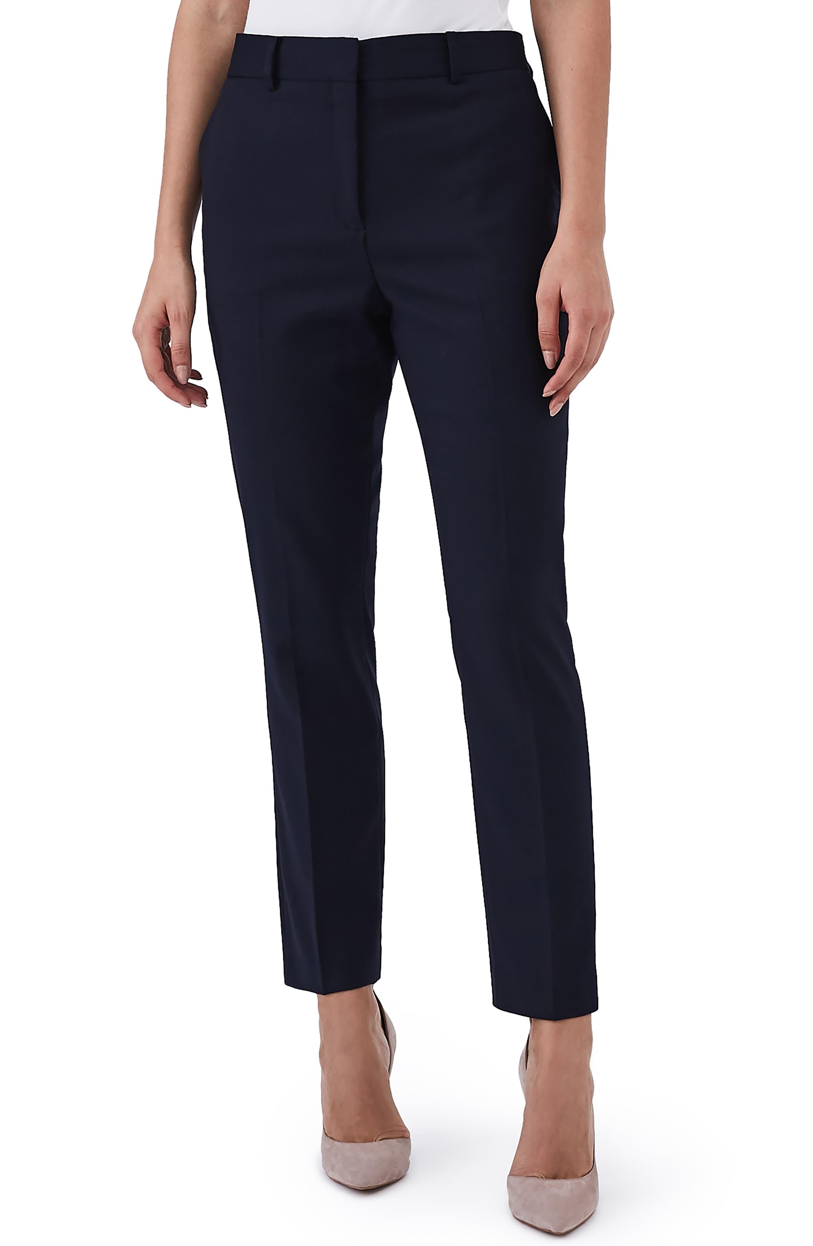 Fenton Stretch Wool Blend Slim Pants,                             Main thumbnail 1, color,                             NAVY