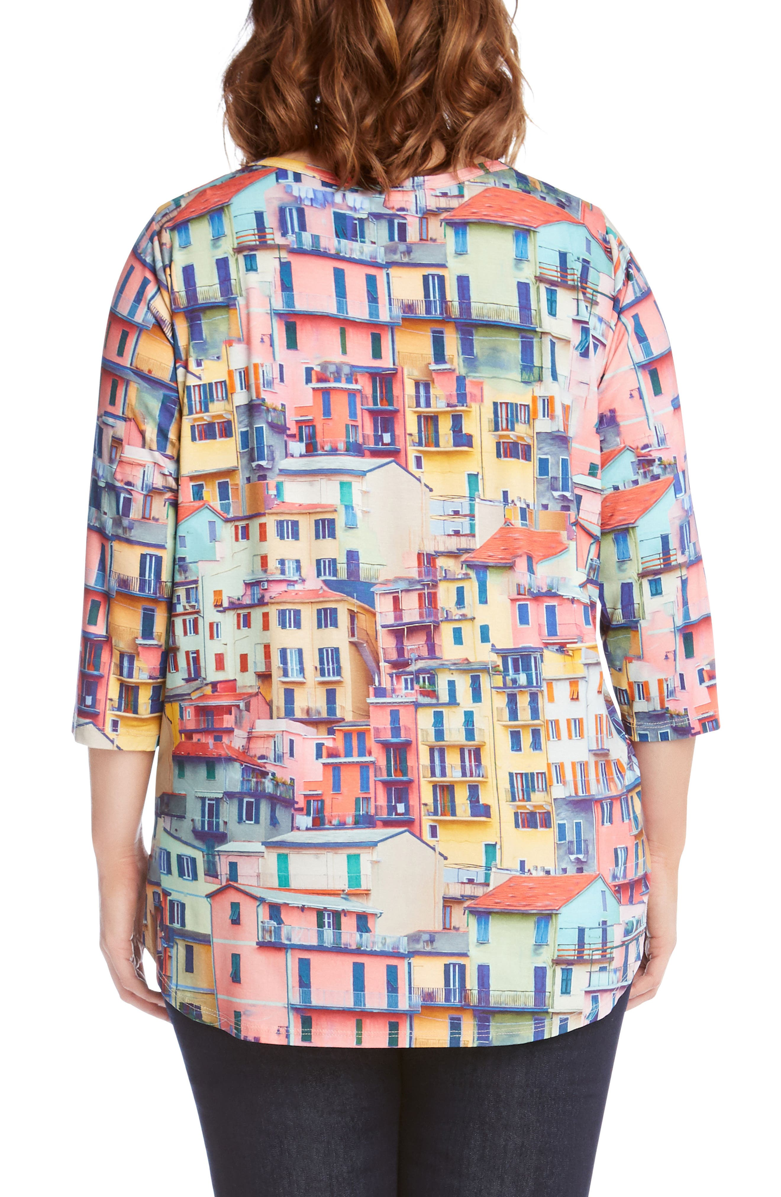 Rainbow Rooftops Three-Quarter Sleeve Top,                             Alternate thumbnail 2, color,