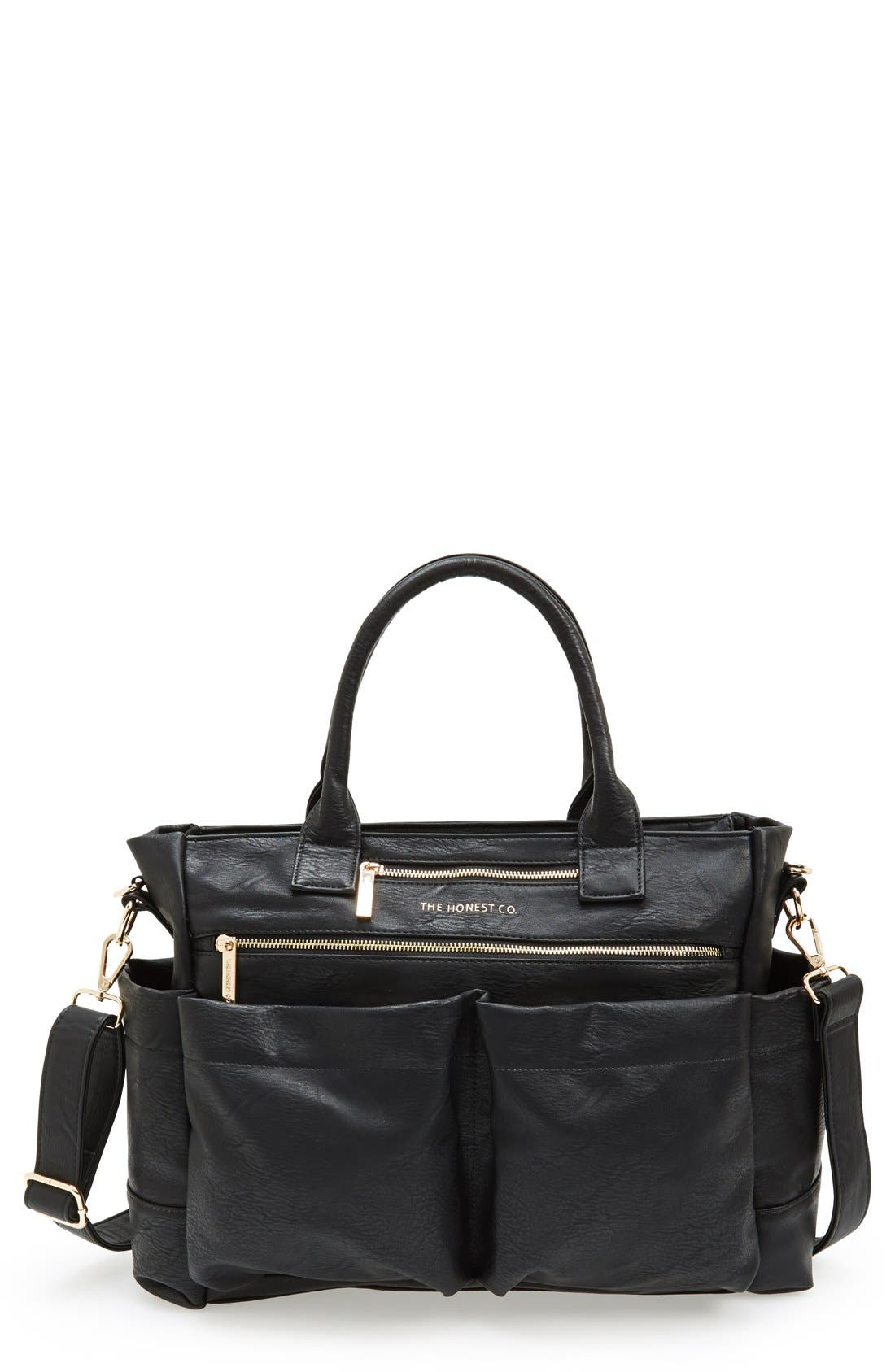'Everything' Faux Leather Diaper Bag,                         Main,                         color, 001