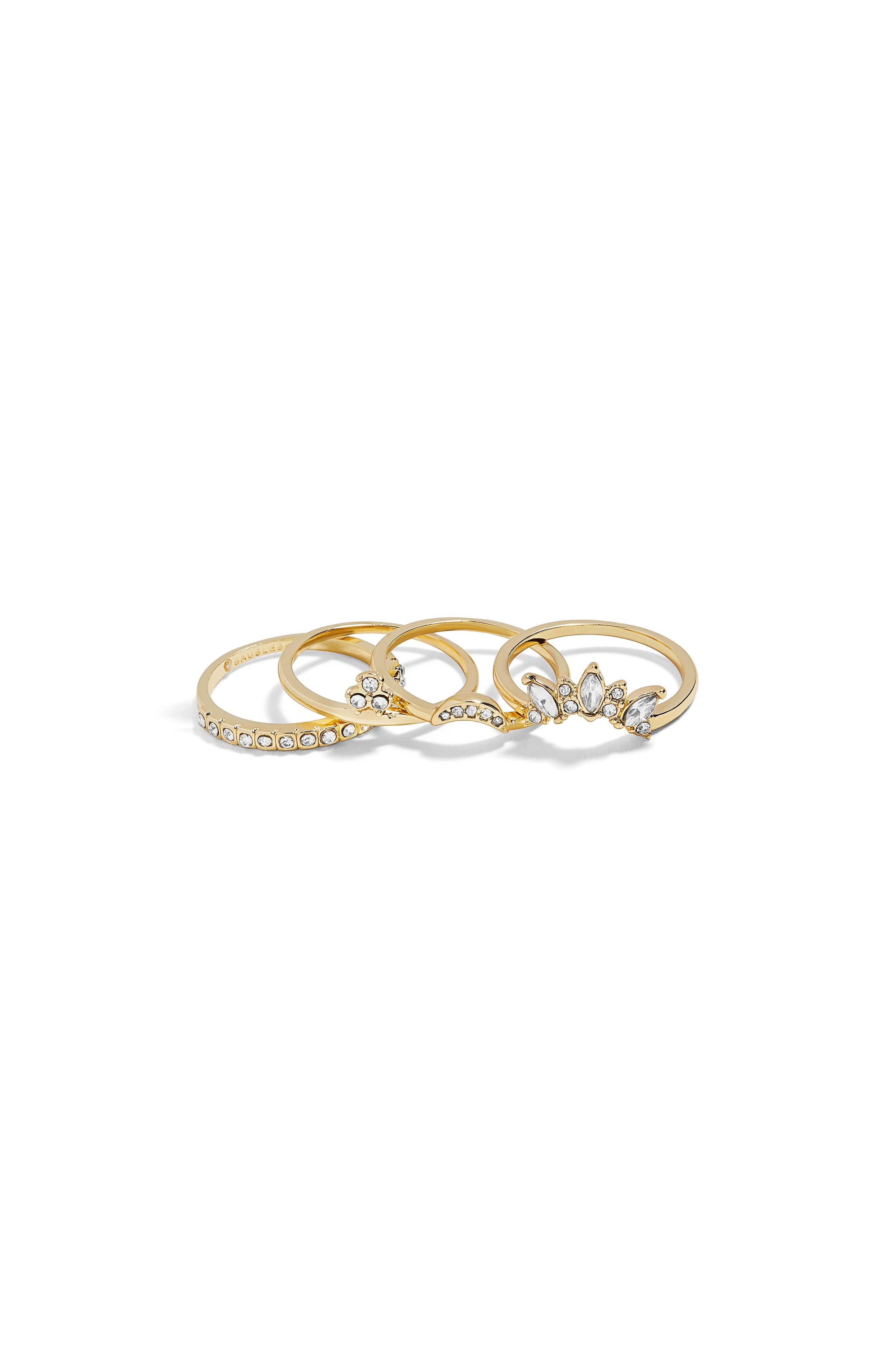 4-Pack Regime Ring Set,                             Main thumbnail 1, color,                             GOLD