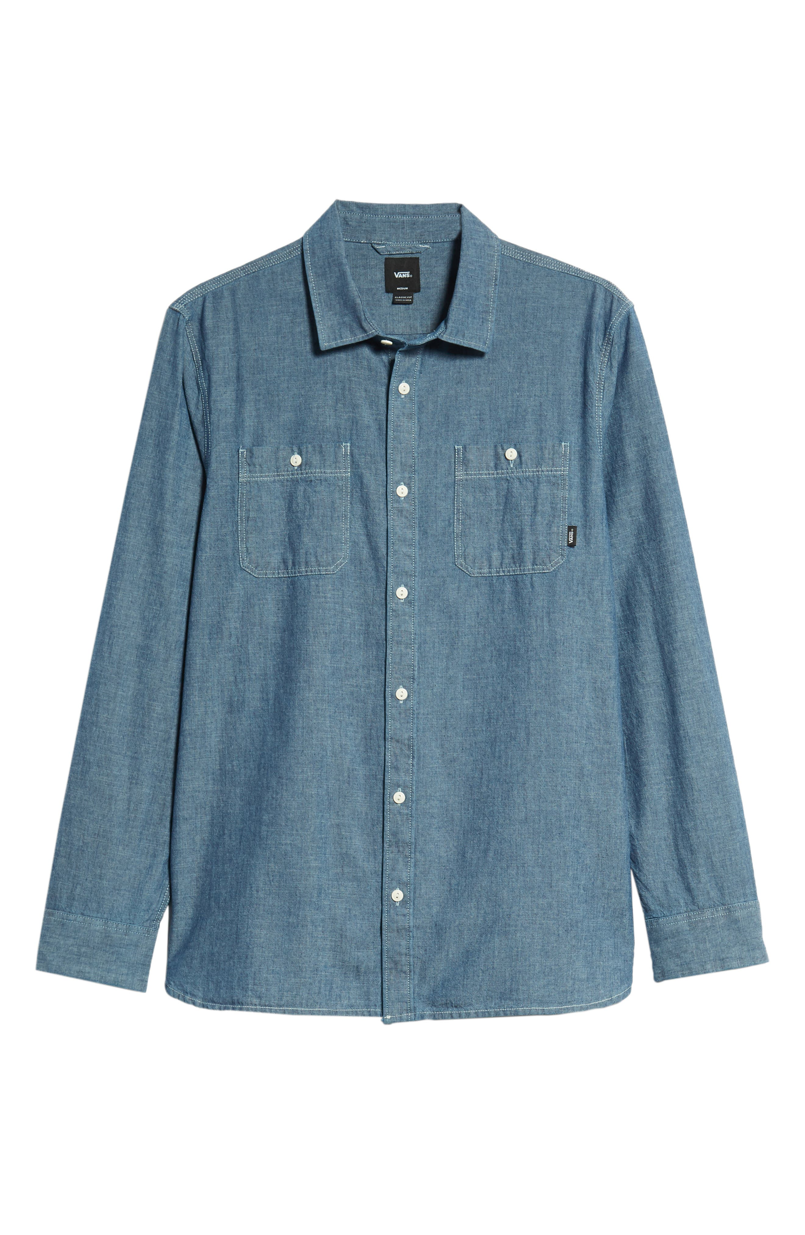 Carlow Chambray Shirt,                             Alternate thumbnail 5, color,                             INDIGO CHAMBRAY