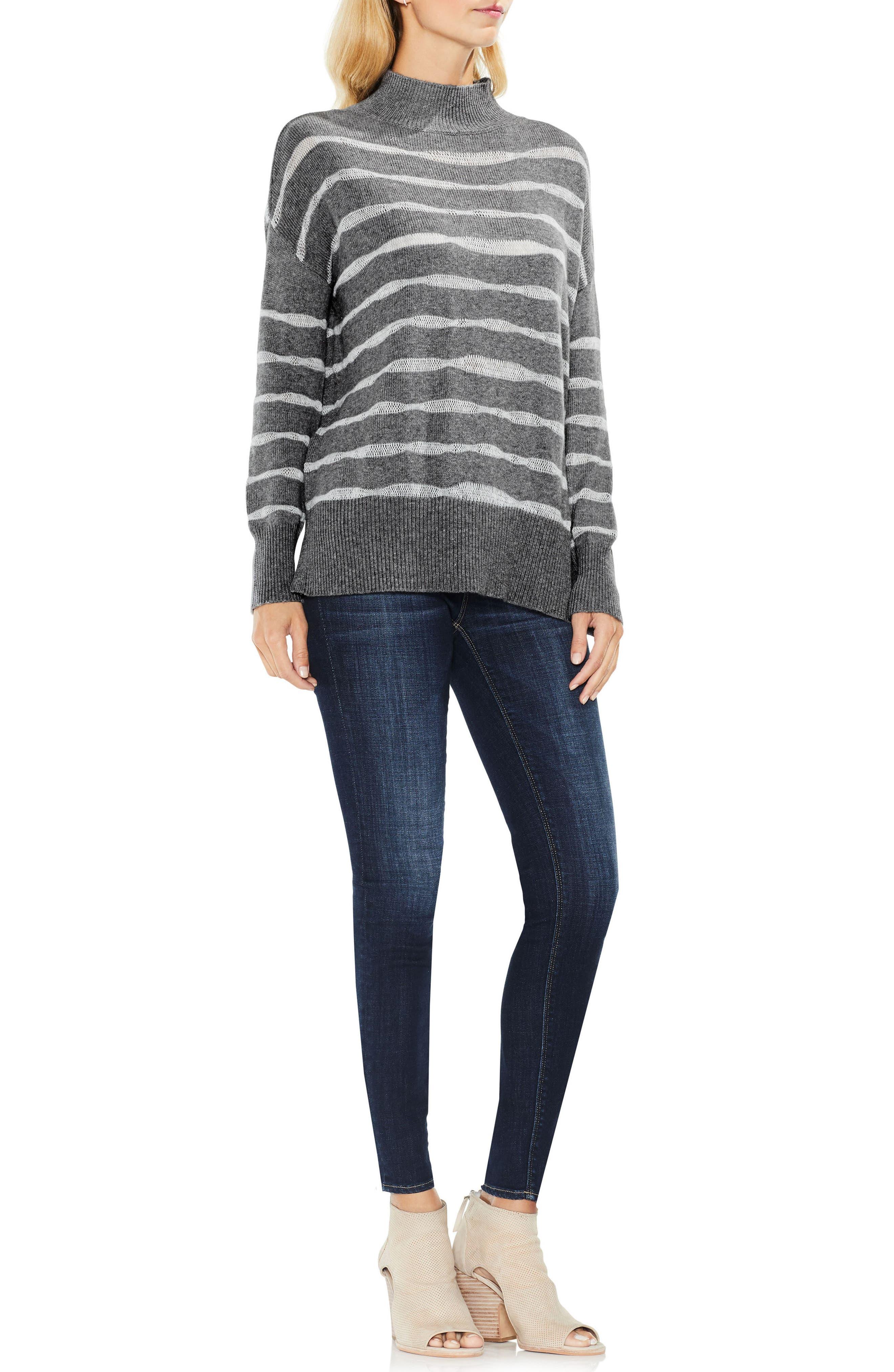 Mock Neck Stripe Sweater,                             Alternate thumbnail 3, color,                             023