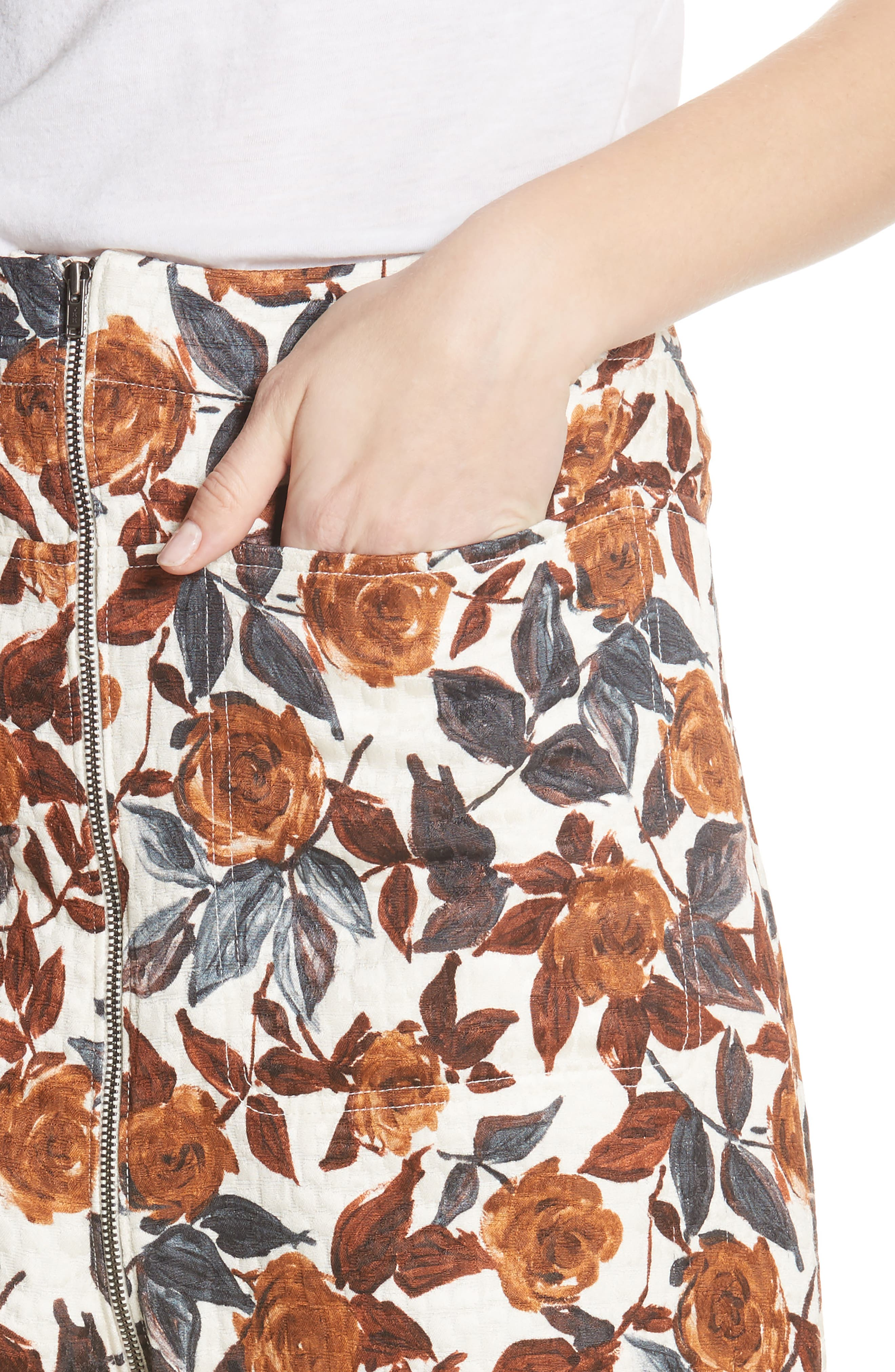 Barrie Floral Print Pants,                             Alternate thumbnail 4, color,                             BROWN