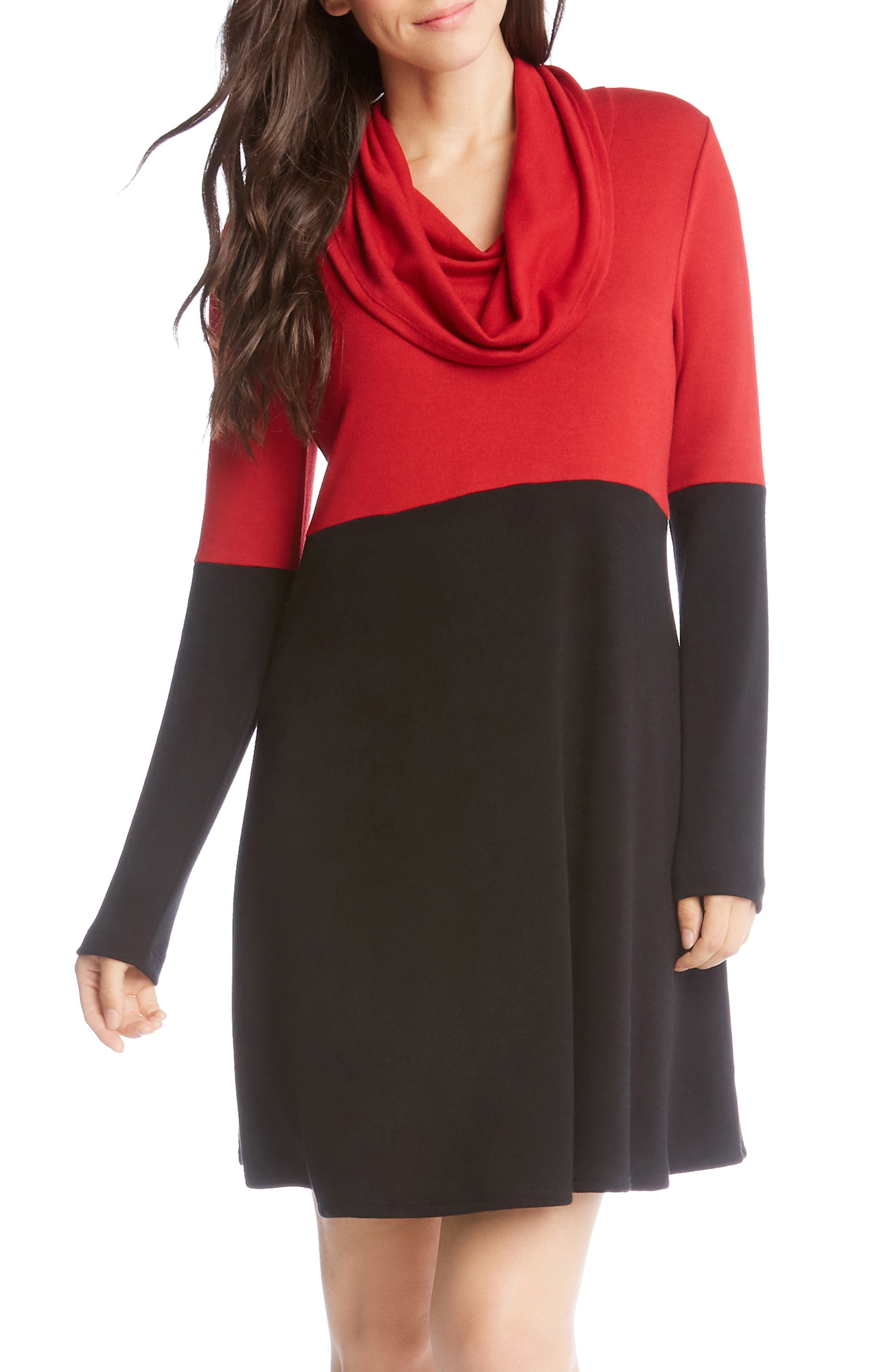 Colorblock Knit A-Line Dress,                             Main thumbnail 1, color,                             BLACK WITH RED
