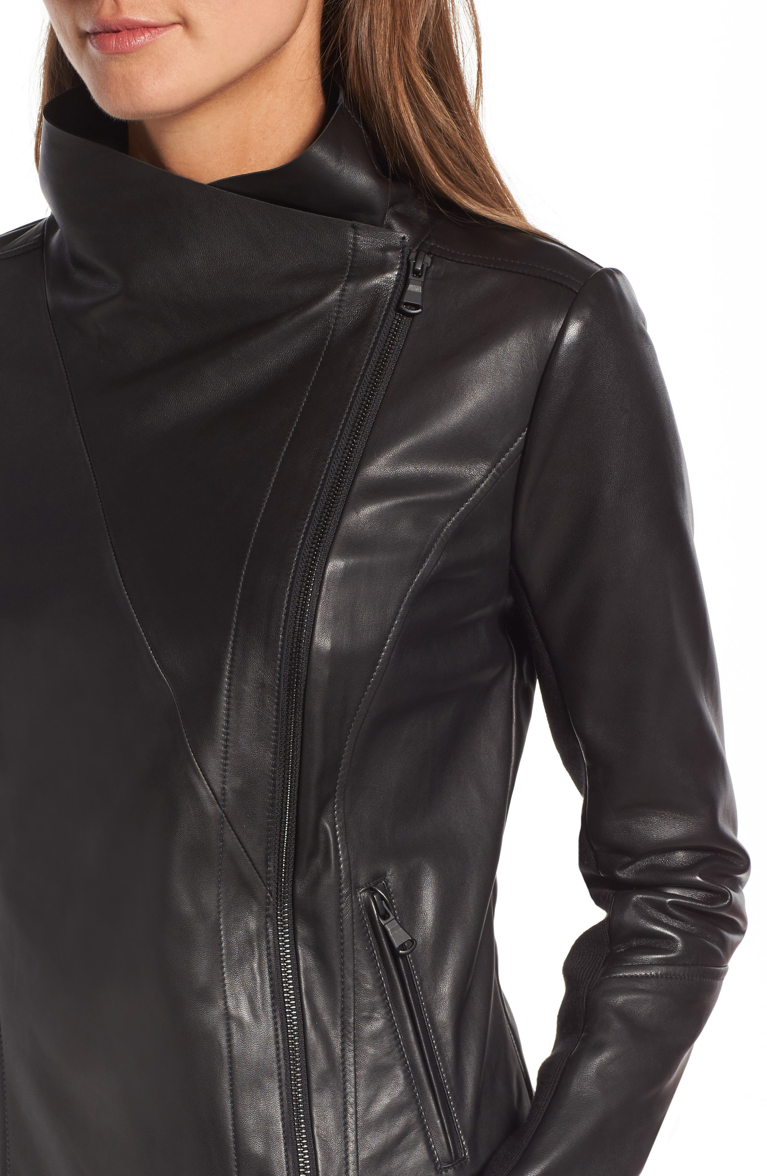 Raw Edge Leather Jacket,                             Alternate thumbnail 4, color,                             001
