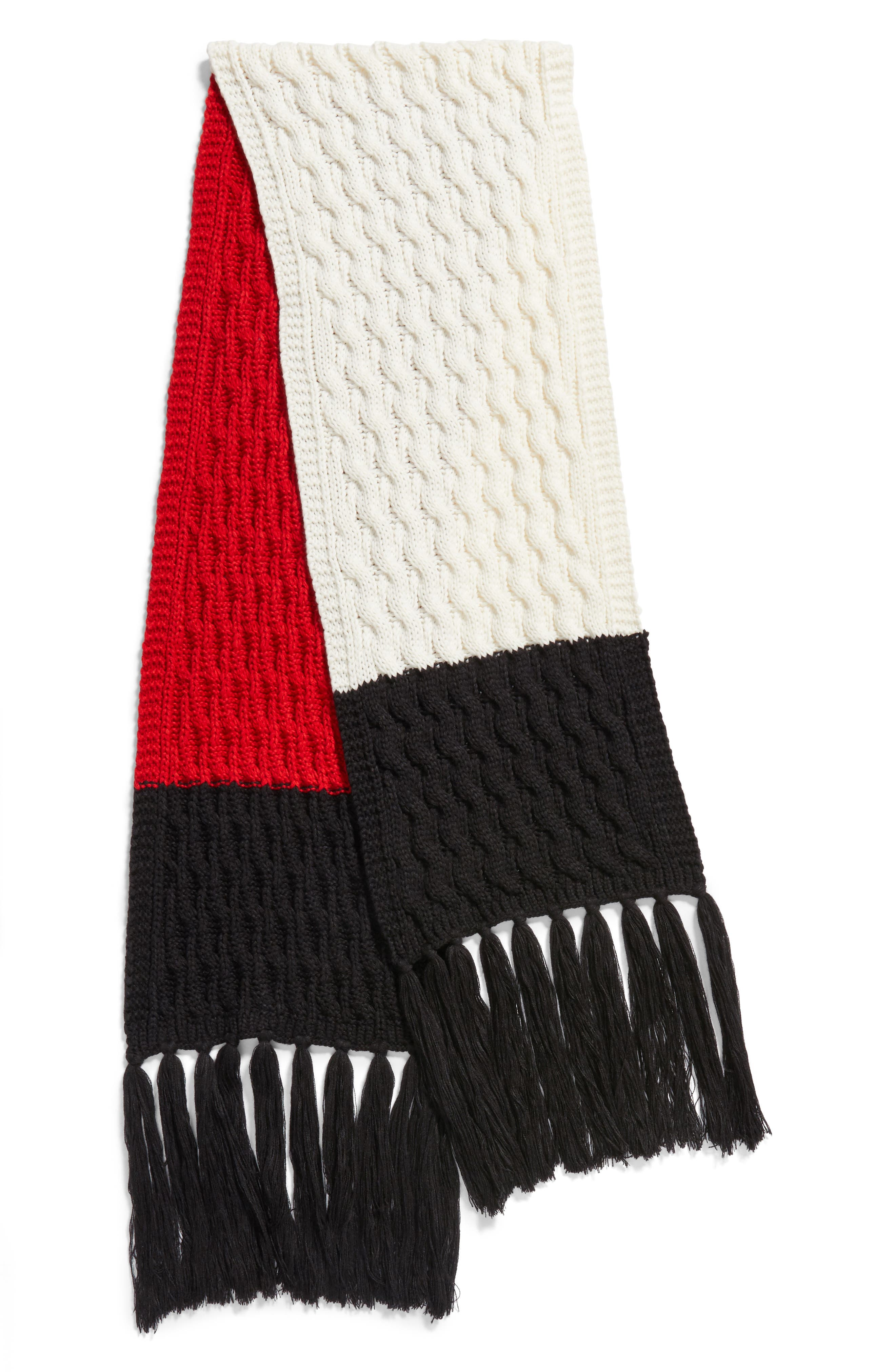Colorblocked Fringe Scarf,                             Alternate thumbnail 3, color,                             001