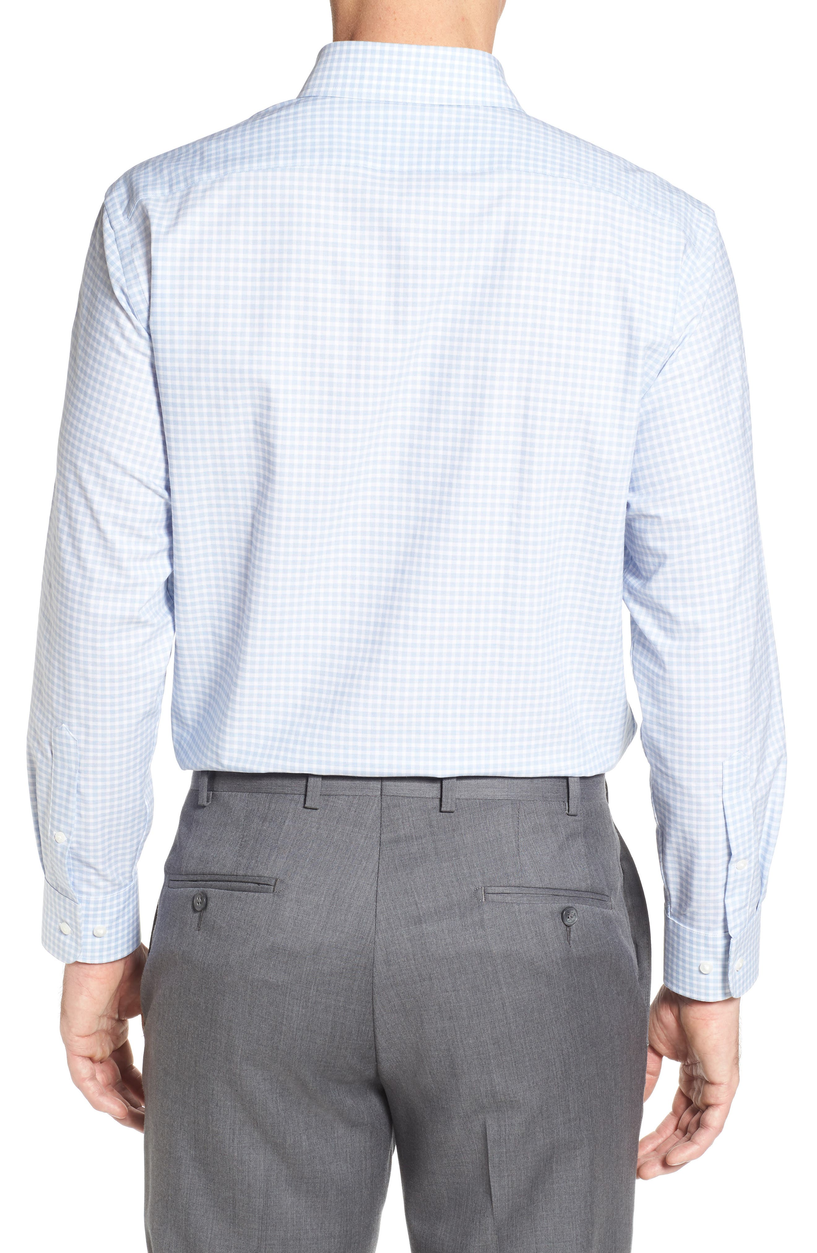 Tech-Smart Traditional Fit Stretch Check Dress Shirt,                             Alternate thumbnail 3, color,