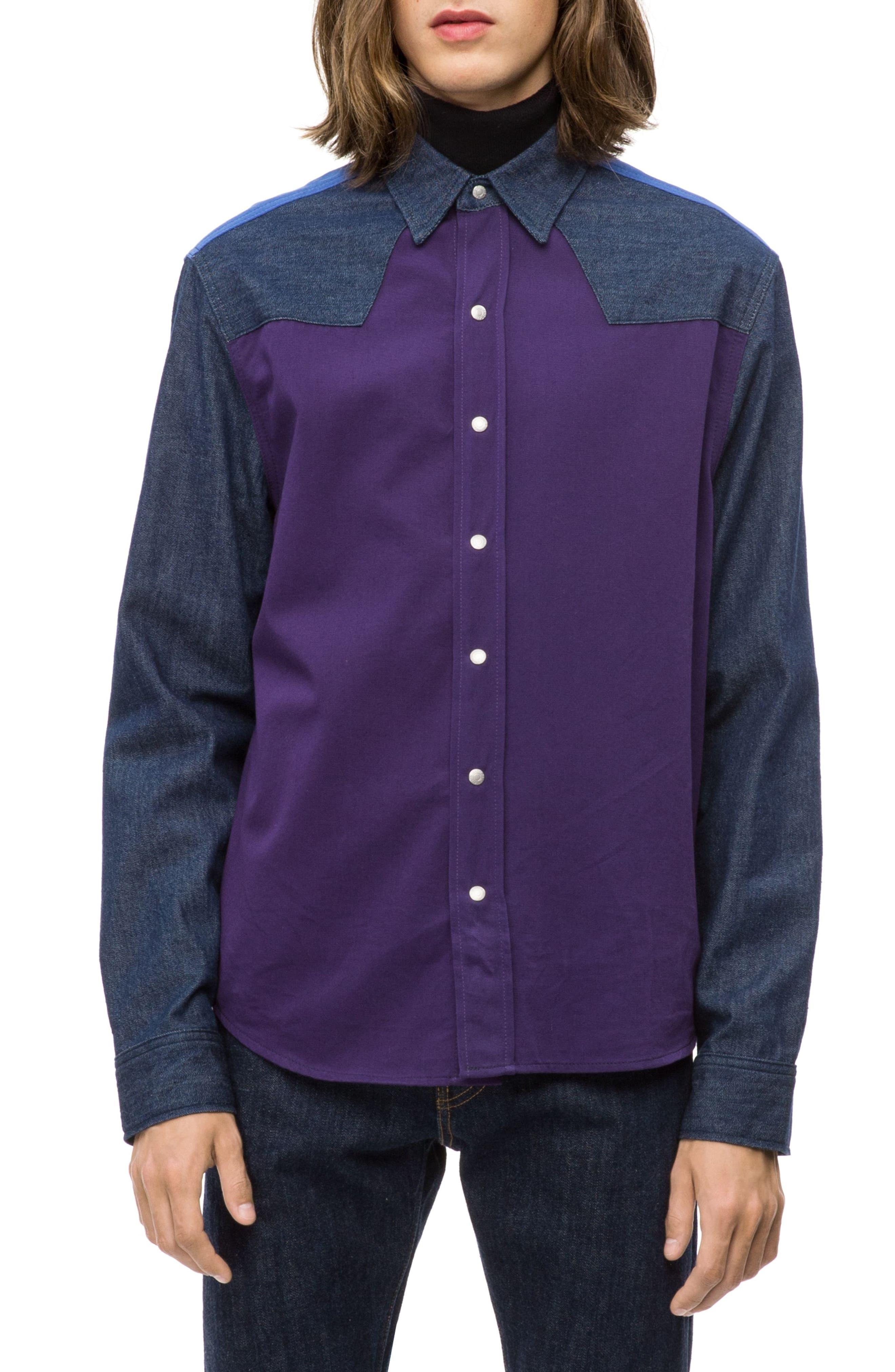 Calvin Klein Colorblock Western Shirt,                             Main thumbnail 1, color,                             OLIVIA RINSE