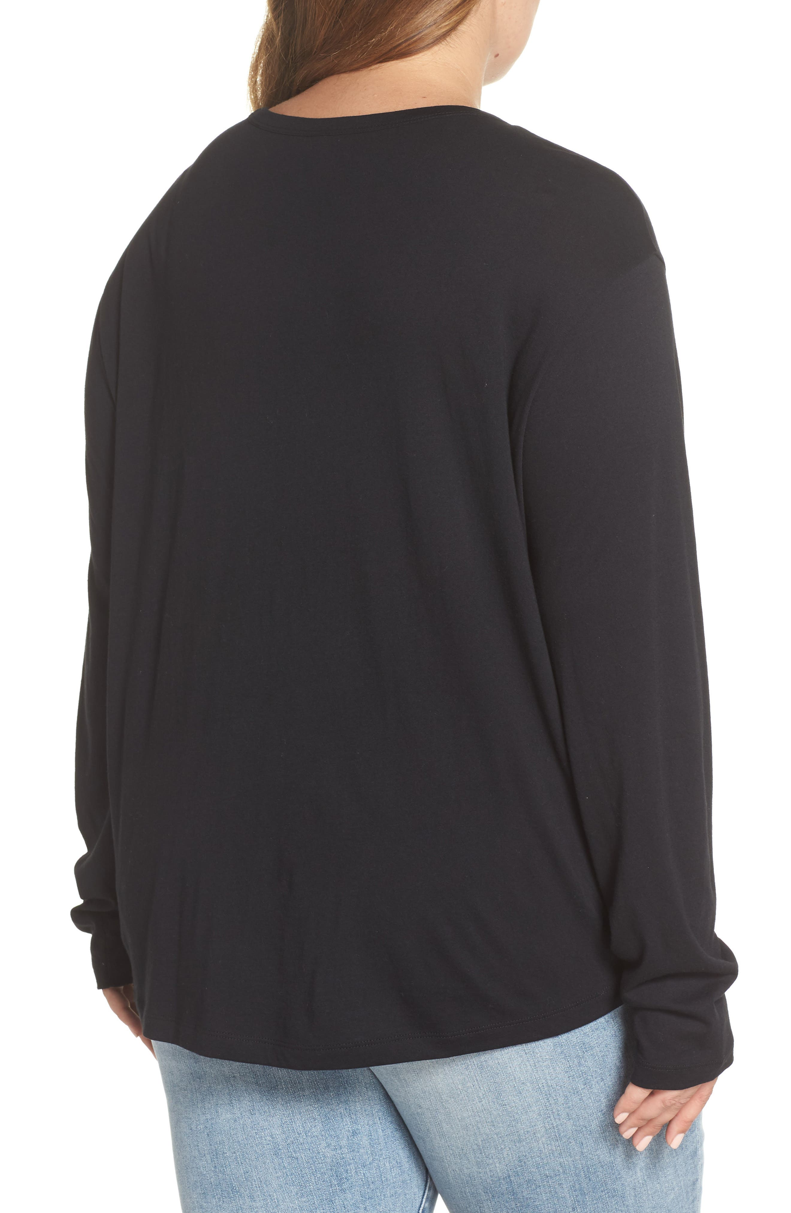 Slouch Pocket Tee,                             Alternate thumbnail 8, color,                             BLACK
