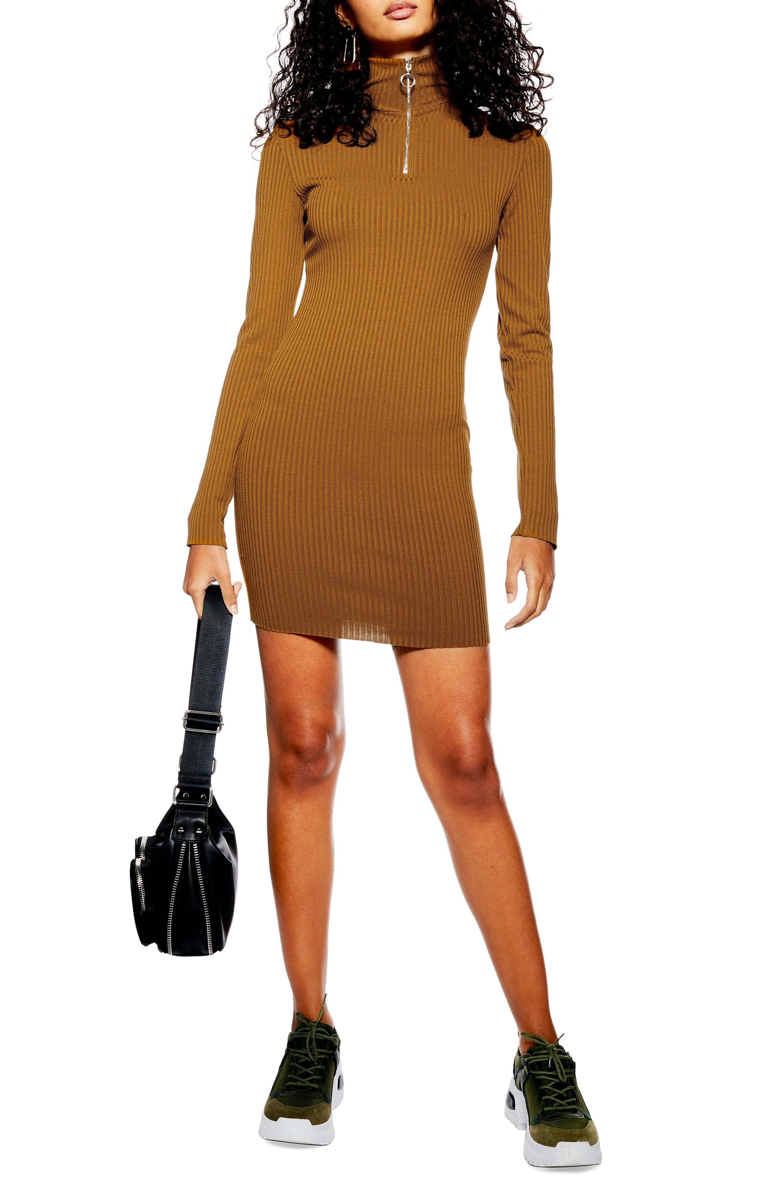 Topshop Ribbed Zip Jersey Dress, US (fits like 14) - Brown