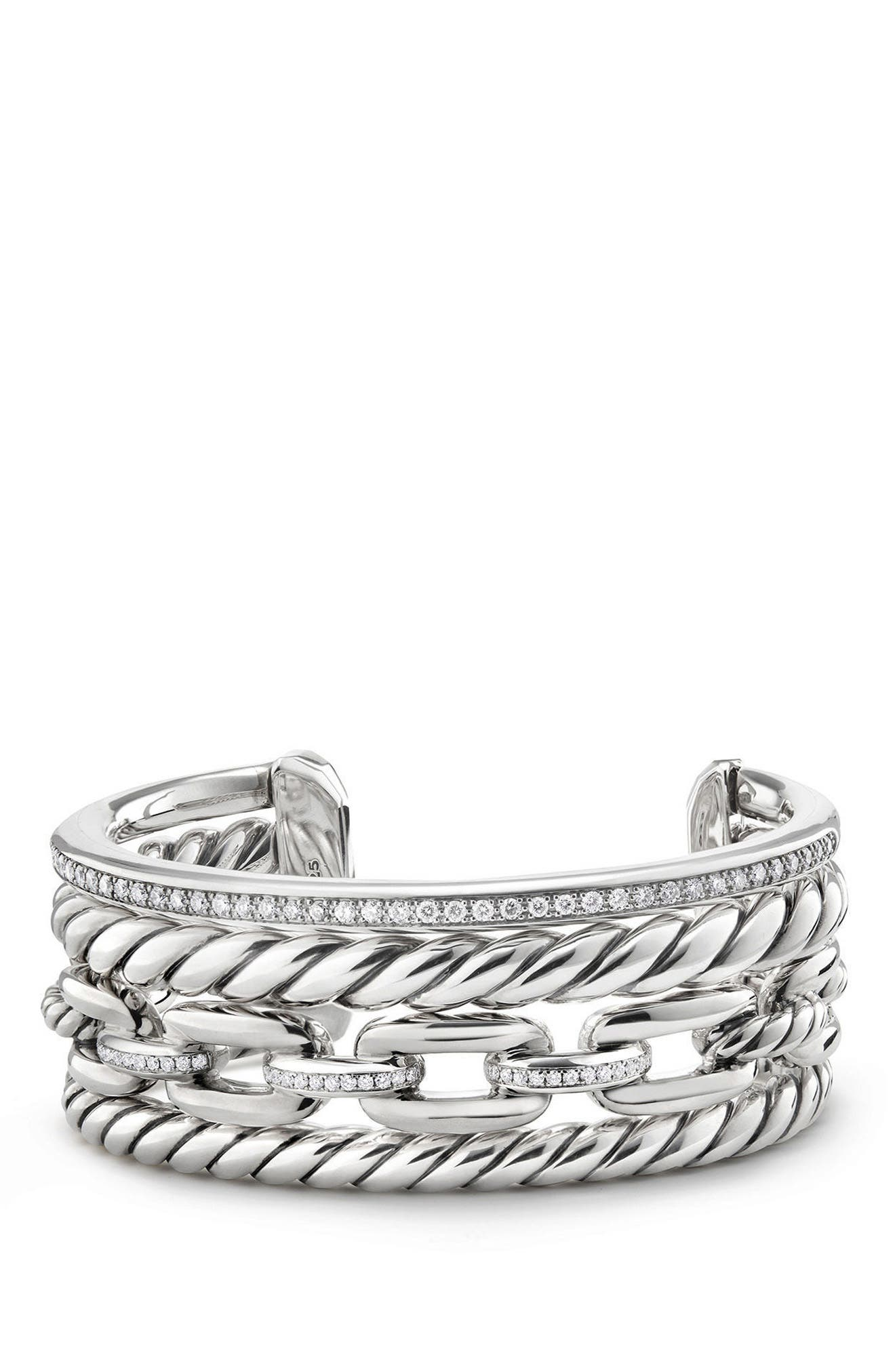 Wellesley Link Cuff with Diamonds, 27mm,                             Main thumbnail 1, color,                             SILVER
