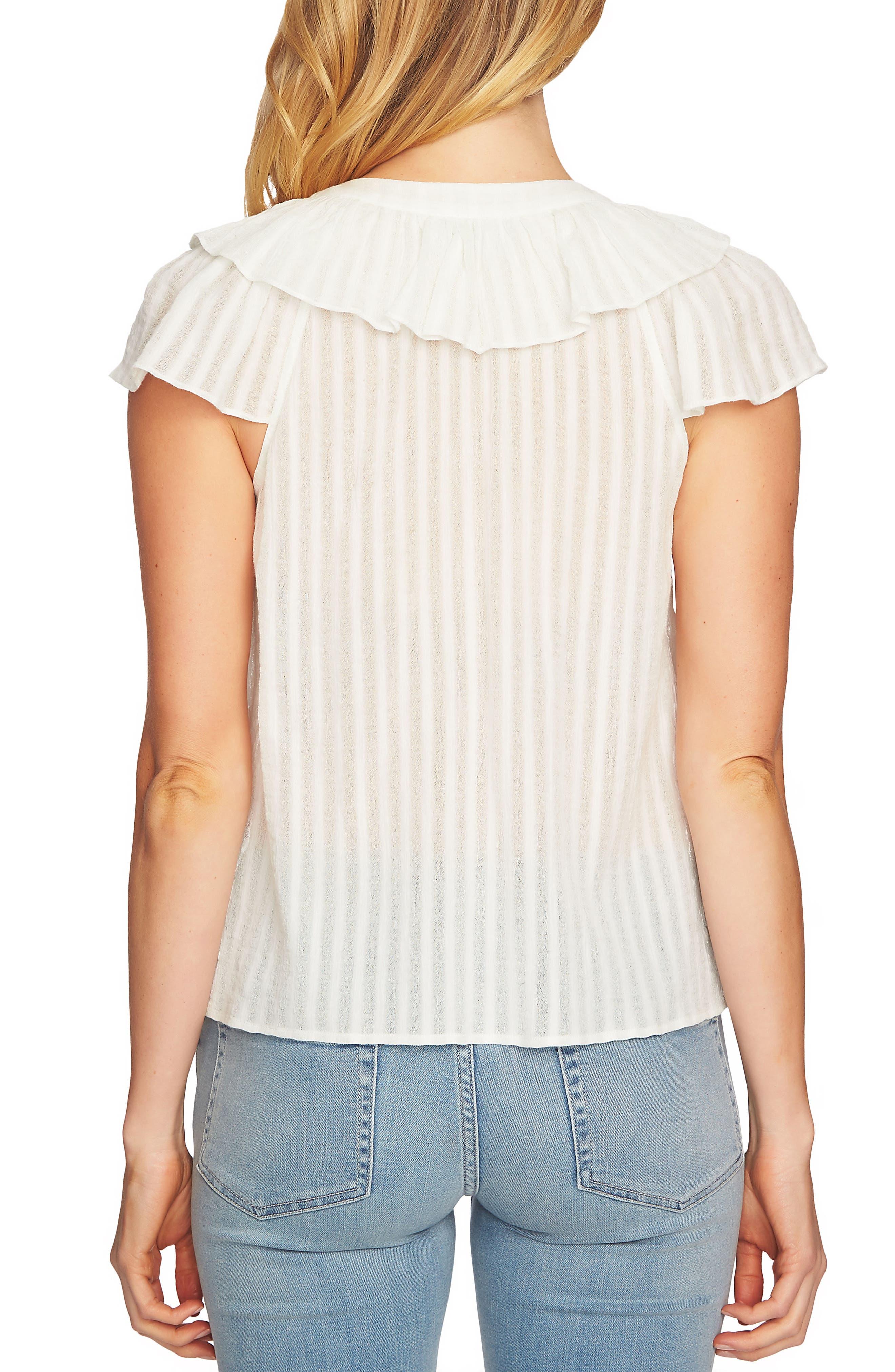 Lace Up Ruffle Stripe Cotton Blouse,                             Alternate thumbnail 4, color,