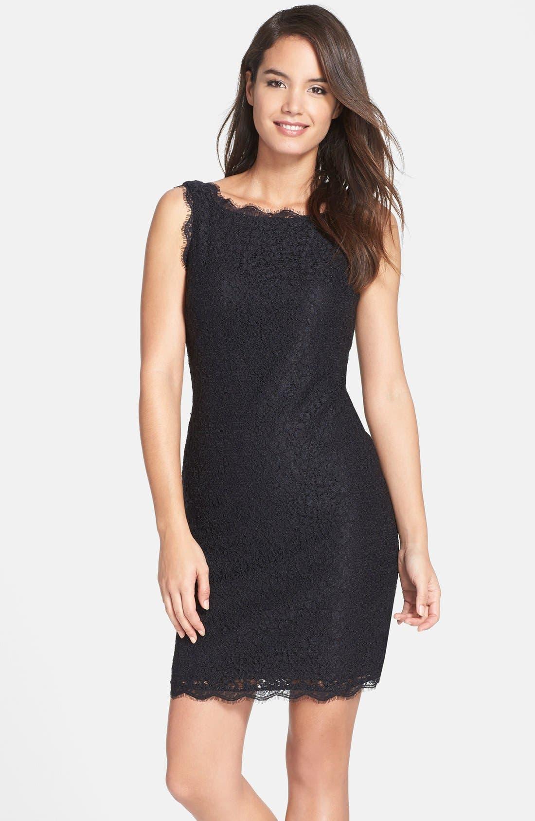 Boatneck Lace Sheath Dress,                             Main thumbnail 6, color,