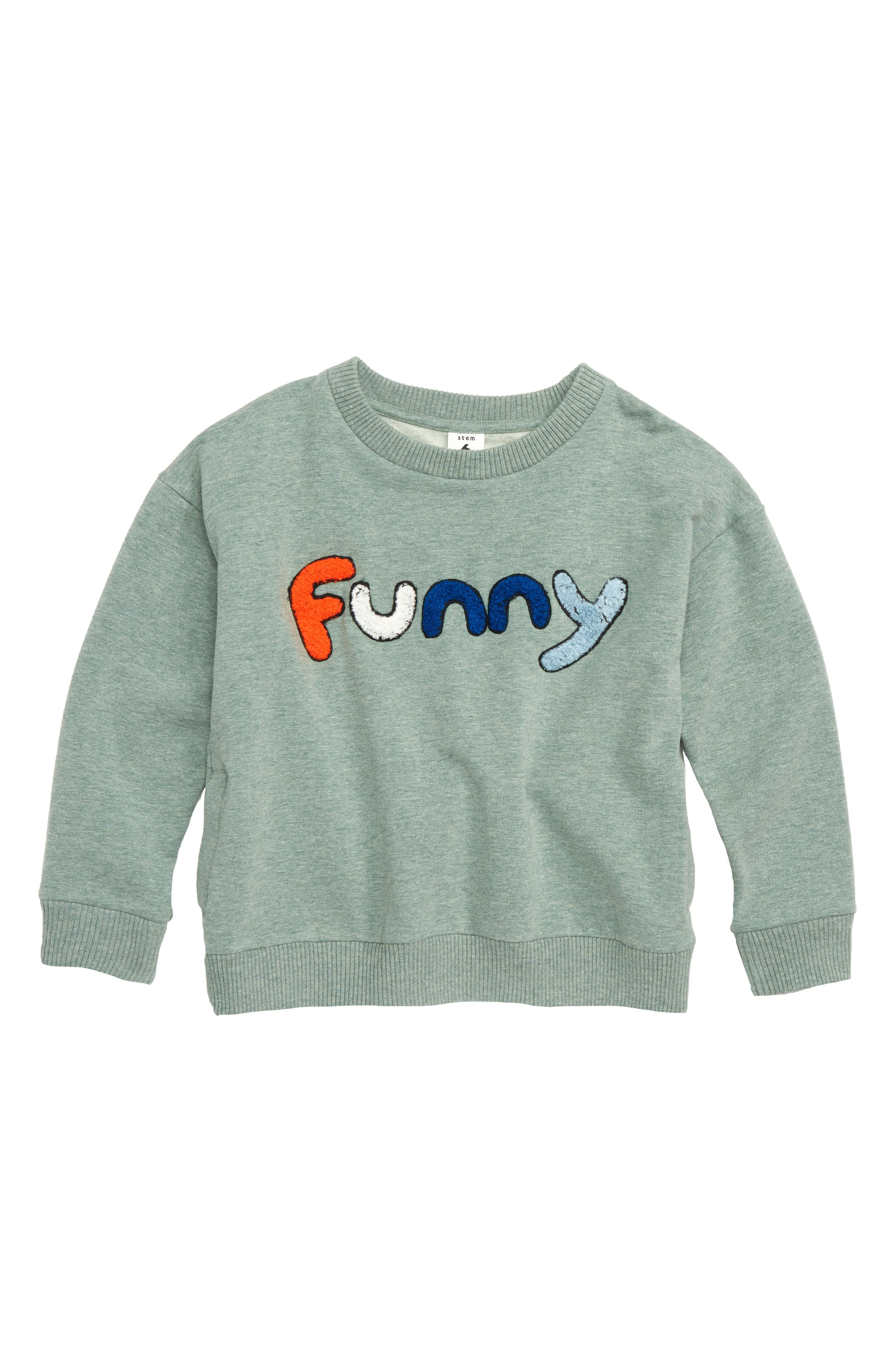 Funny 3D Graphic Sweatshirt,                             Main thumbnail 1, color,                             GREEN AGAVE HEATHER FUNNY