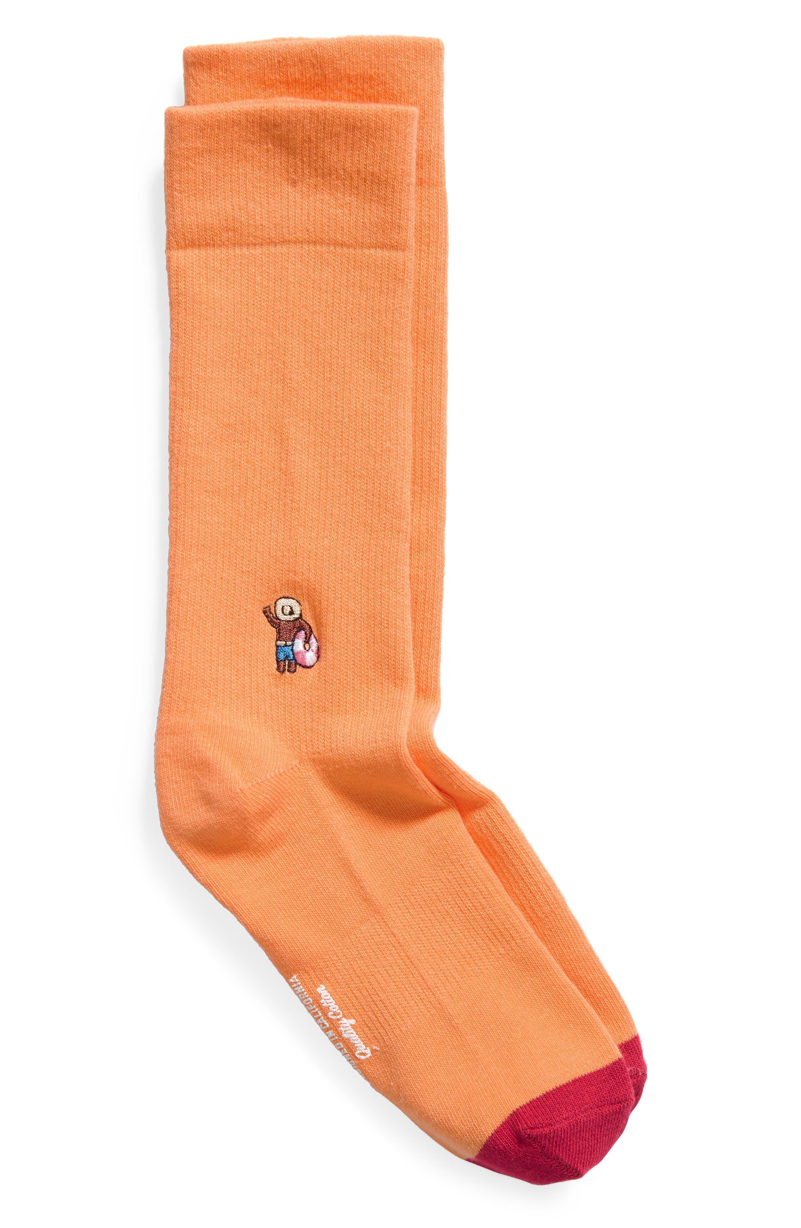 Dude Everyday Crew Socks,                         Main,                         color, ORANGE