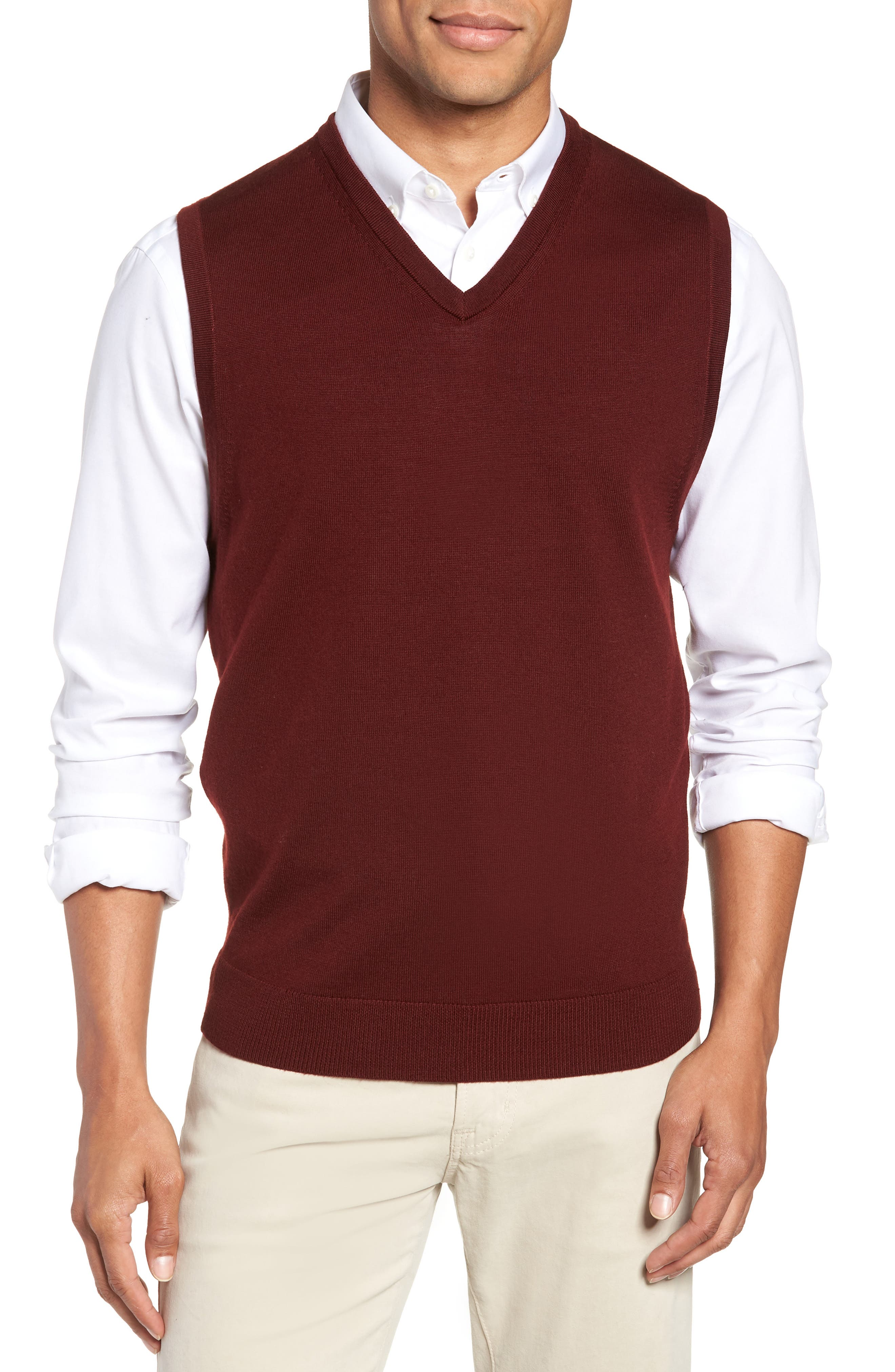 Merino Wool Sweater Vest,                             Main thumbnail 1, color,                             BURGUNDY ROYALE