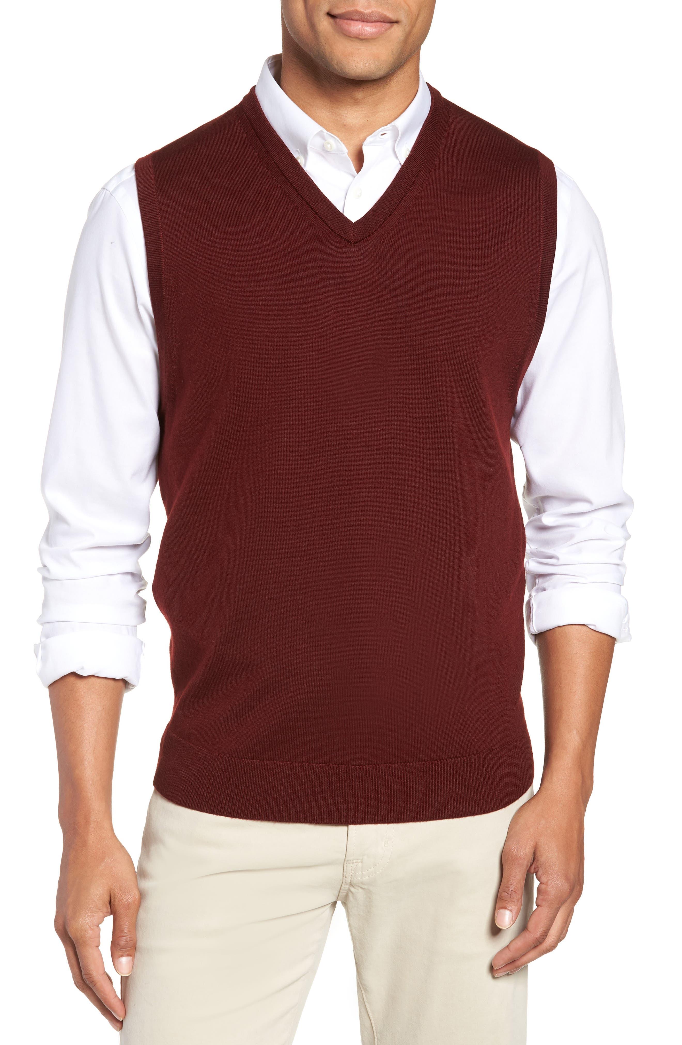 Merino Wool Sweater Vest,                         Main,                         color, BURGUNDY ROYALE