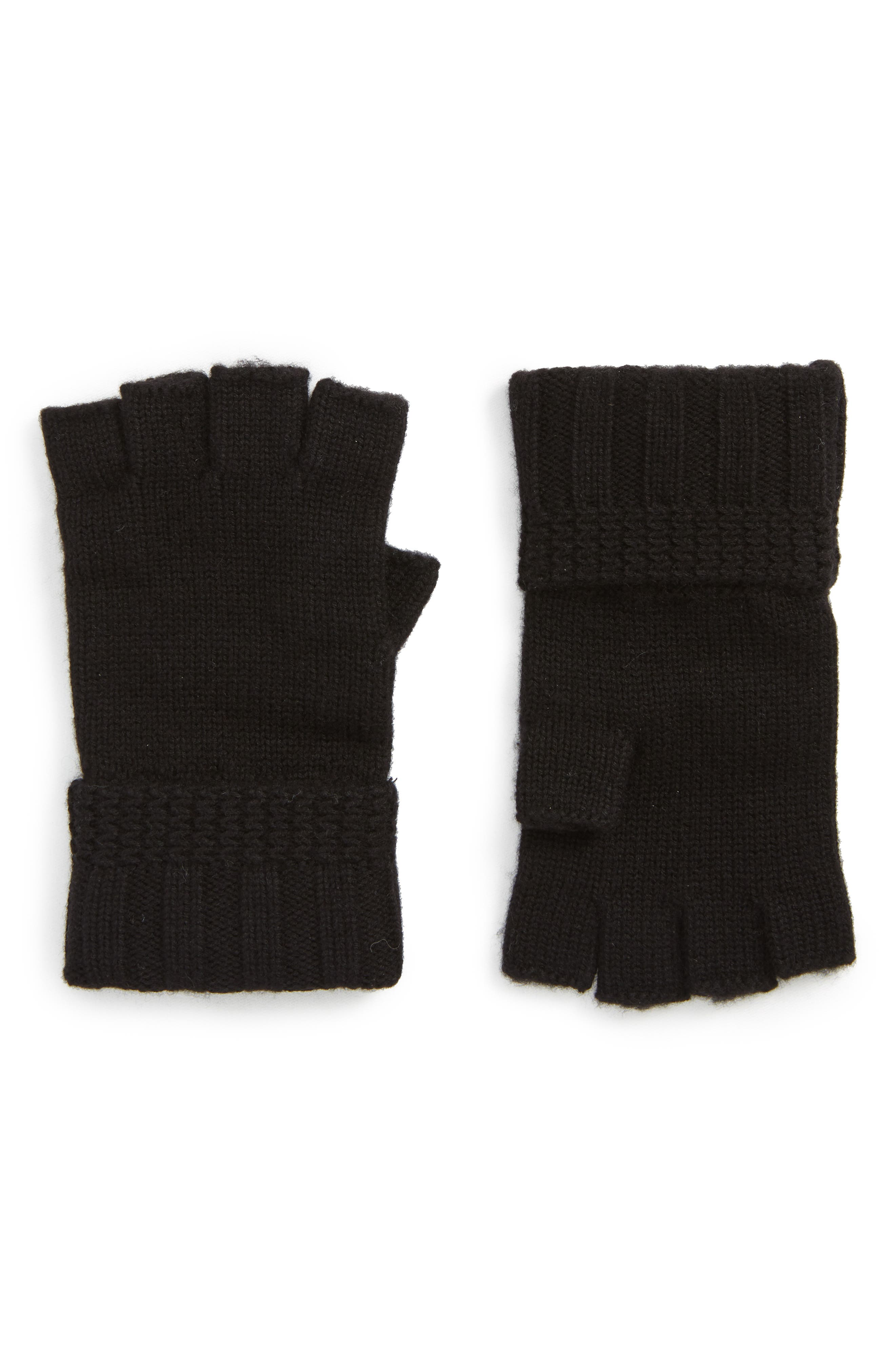 UGG<sup>®</sup> Texture Knit Fingerless Gloves,                         Main,                         color, 001