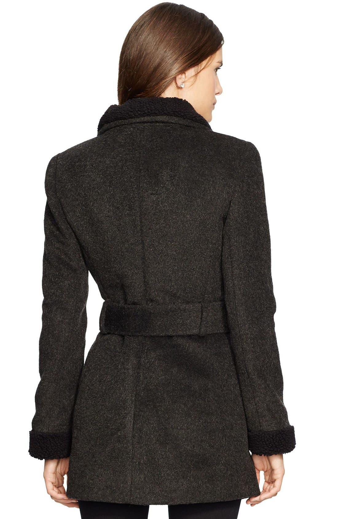 LAUREN RALPH LAUREN,                             Faux Shearling Trim Belted Wool Blend Coat,                             Alternate thumbnail 2, color,                             001