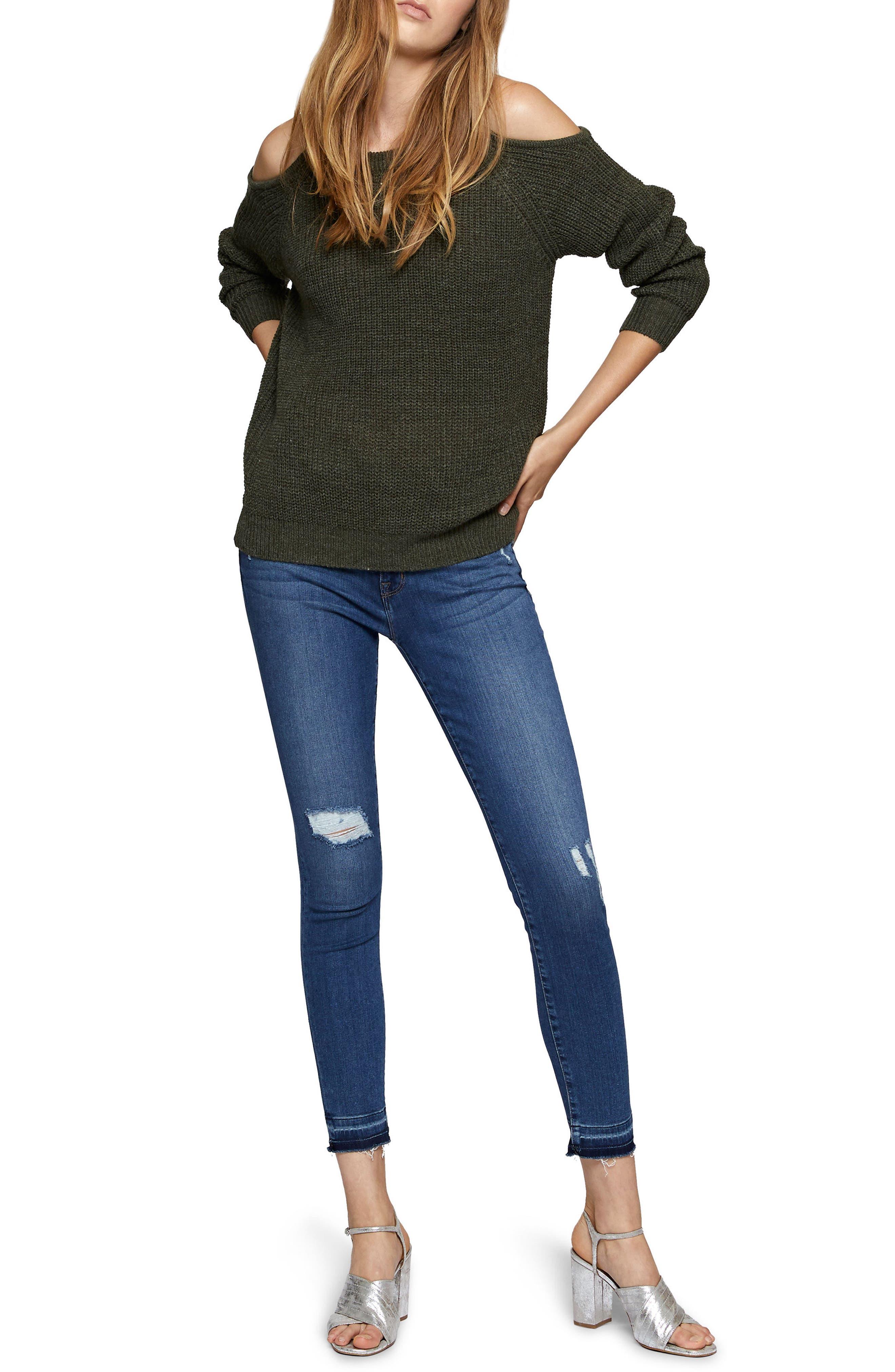 Riley Cold Shoulder Sweater,                             Alternate thumbnail 3, color,                             305