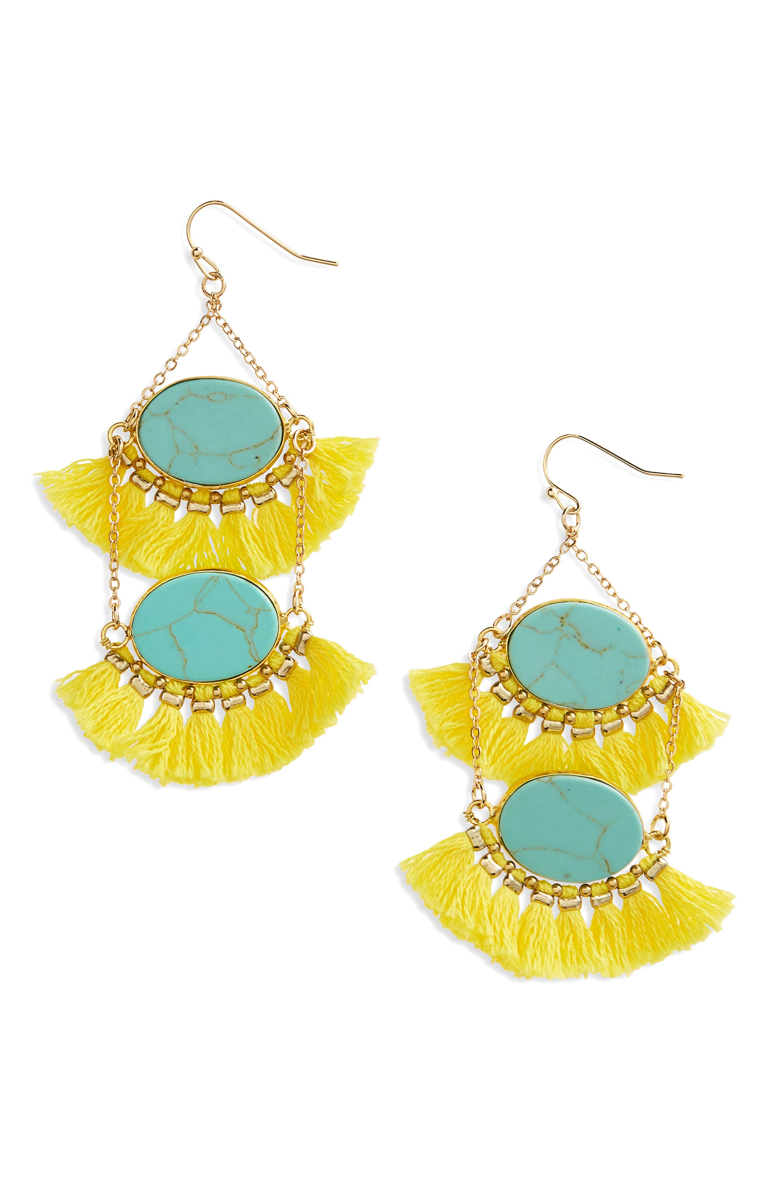 Double Drop Fringe Earrings,                         Main,                         color, 700