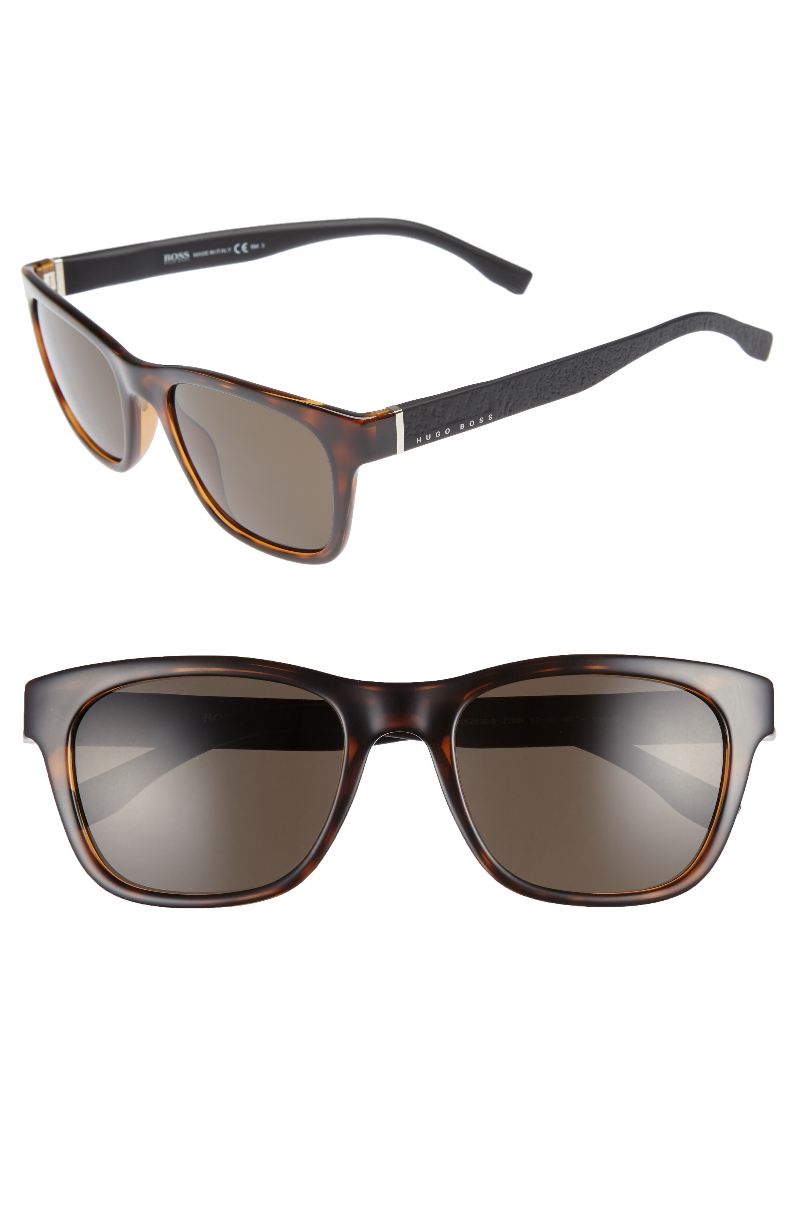 53mm Polarized Sunglasses,                         Main,                         color, HAVANA BLACK/ BROWN GREY
