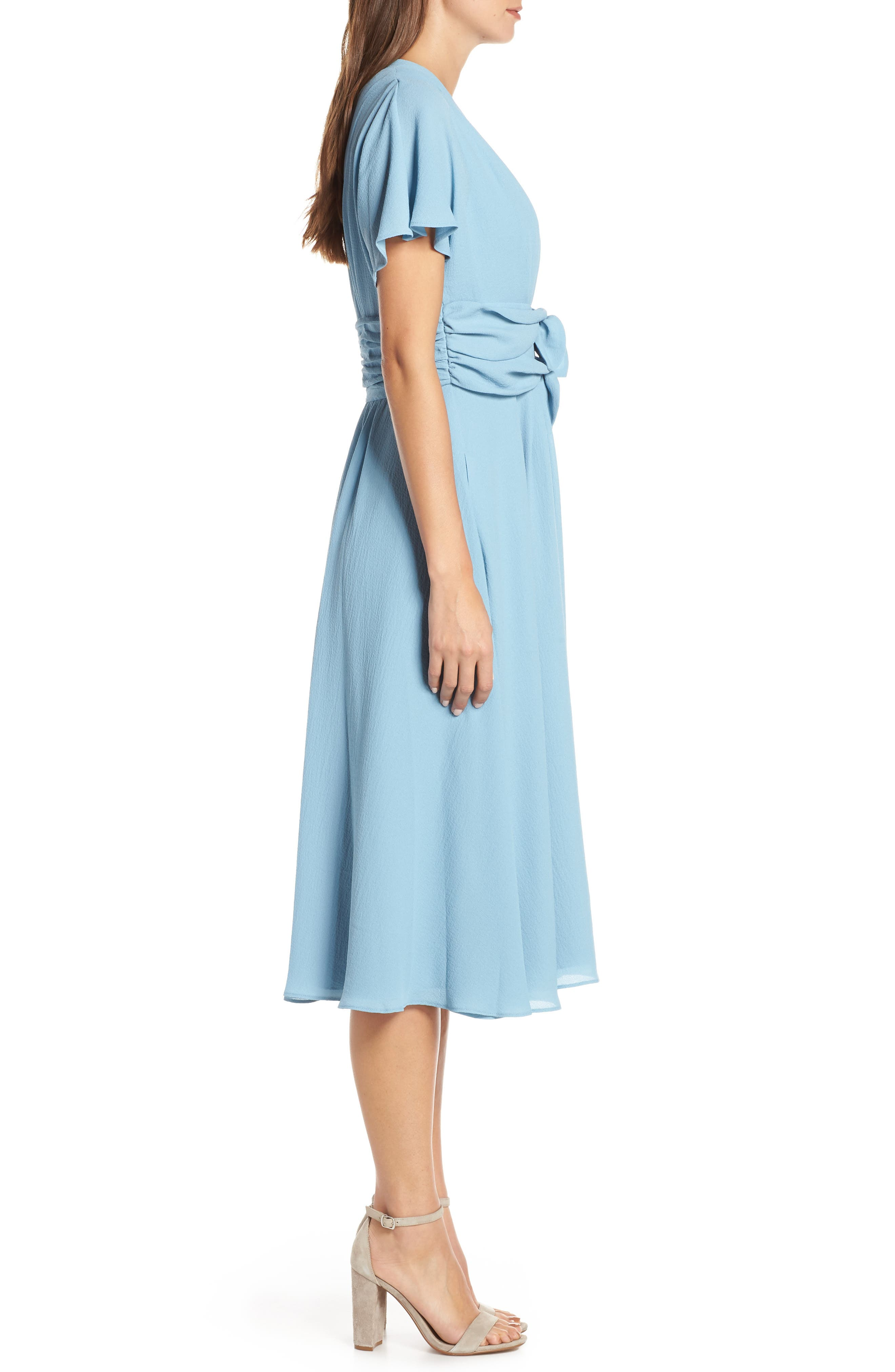 GAL MEETS GLAM COLLECTION,                             Jane Tie Waist Midi Dress,                             Alternate thumbnail 4, color,                             STEEL BLUE