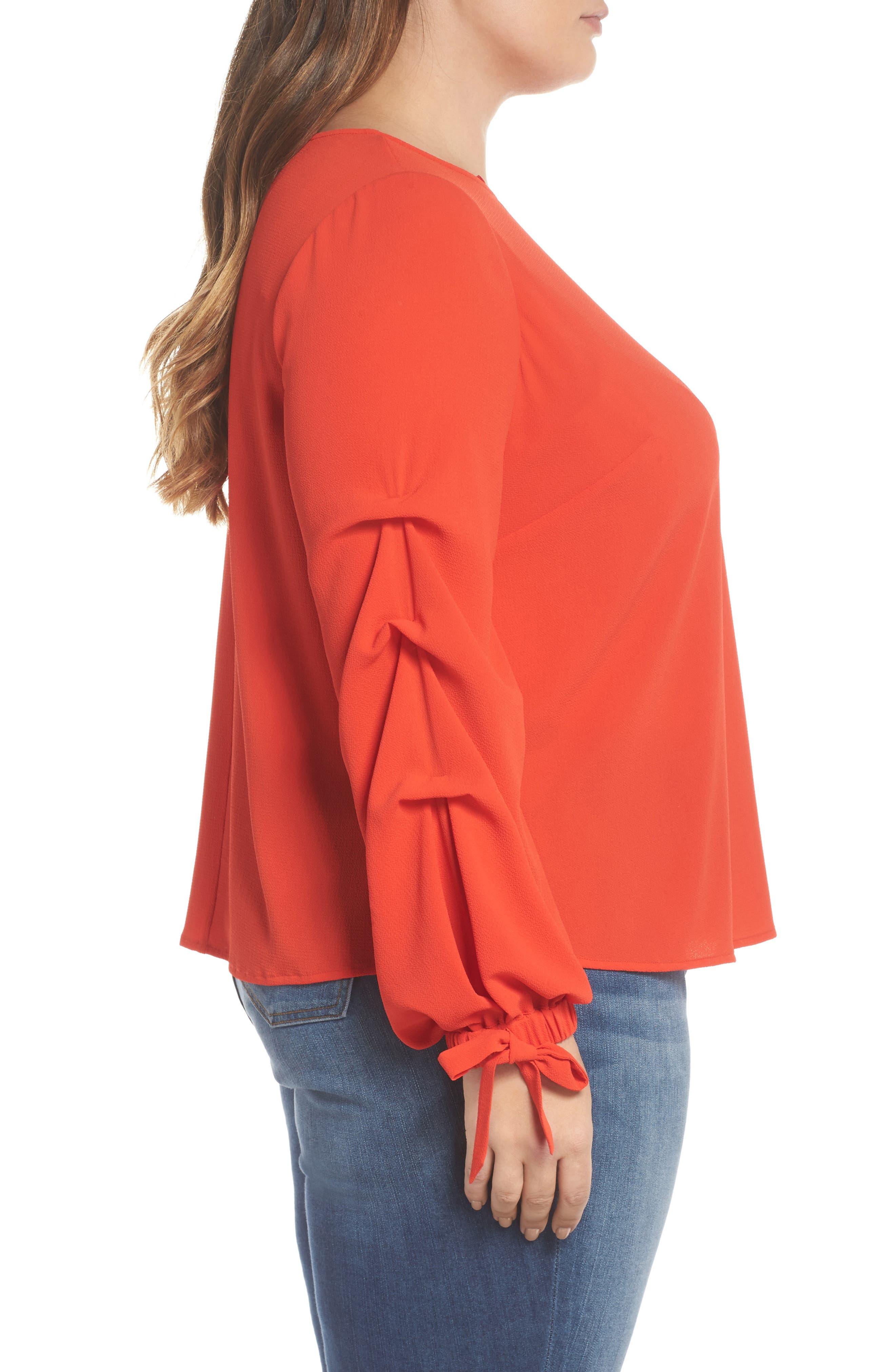 Tiered Tie Cuff Crepe Blouse,                             Alternate thumbnail 3, color,                             626