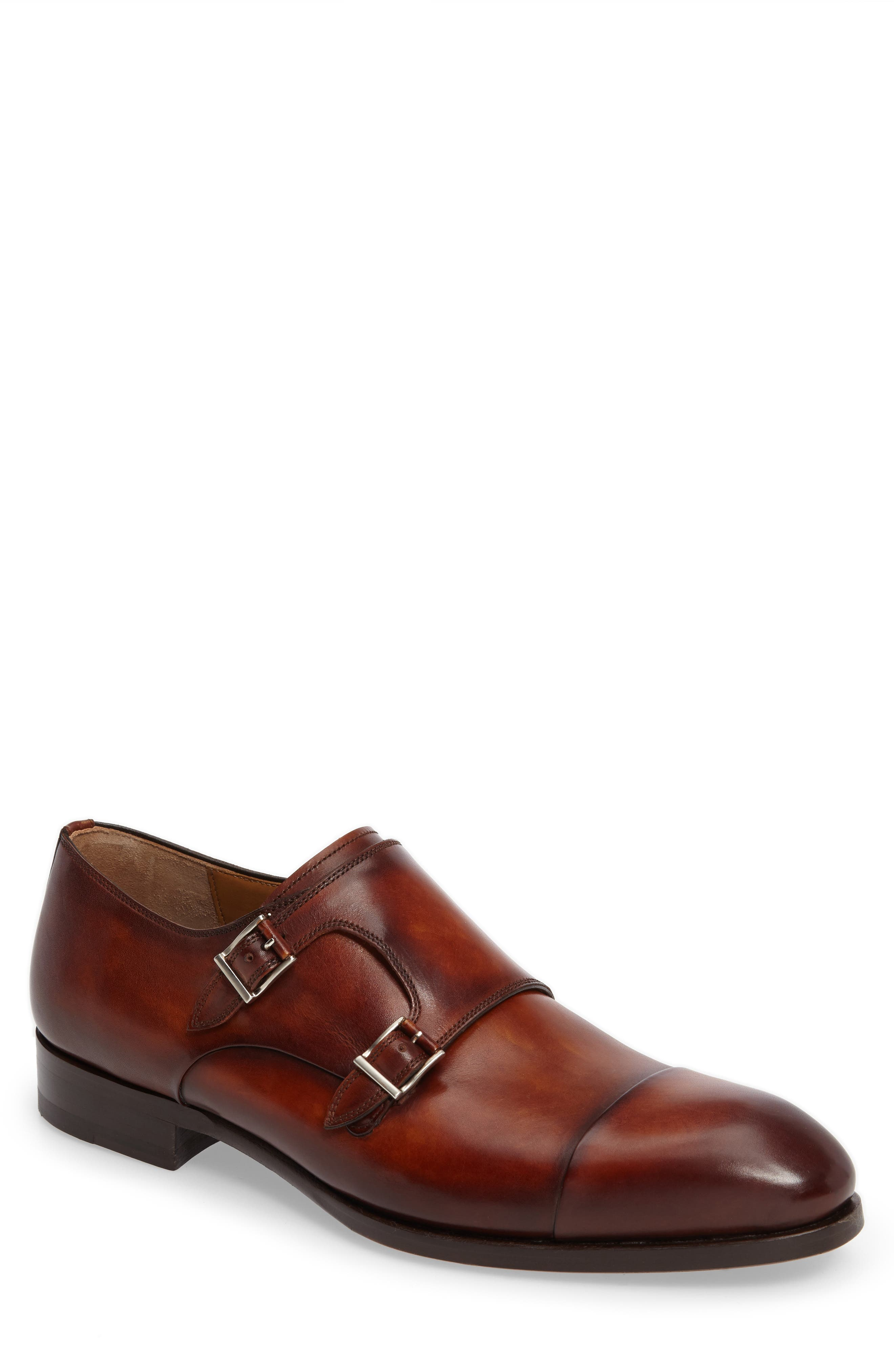 Louie Double Monk Strap Shoe,                         Main,                         color, COGNAC LEATHER