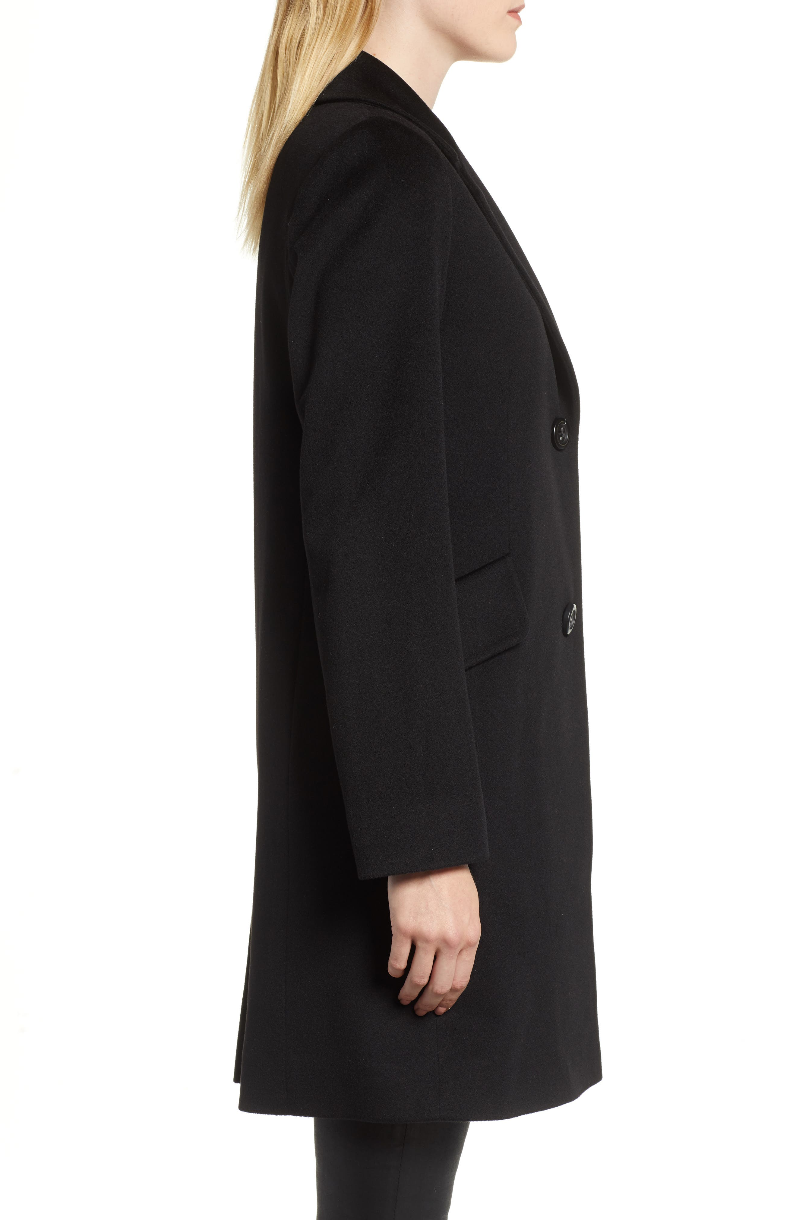 Notch Collar Wool Coat,                             Alternate thumbnail 3, color,                             BLACK