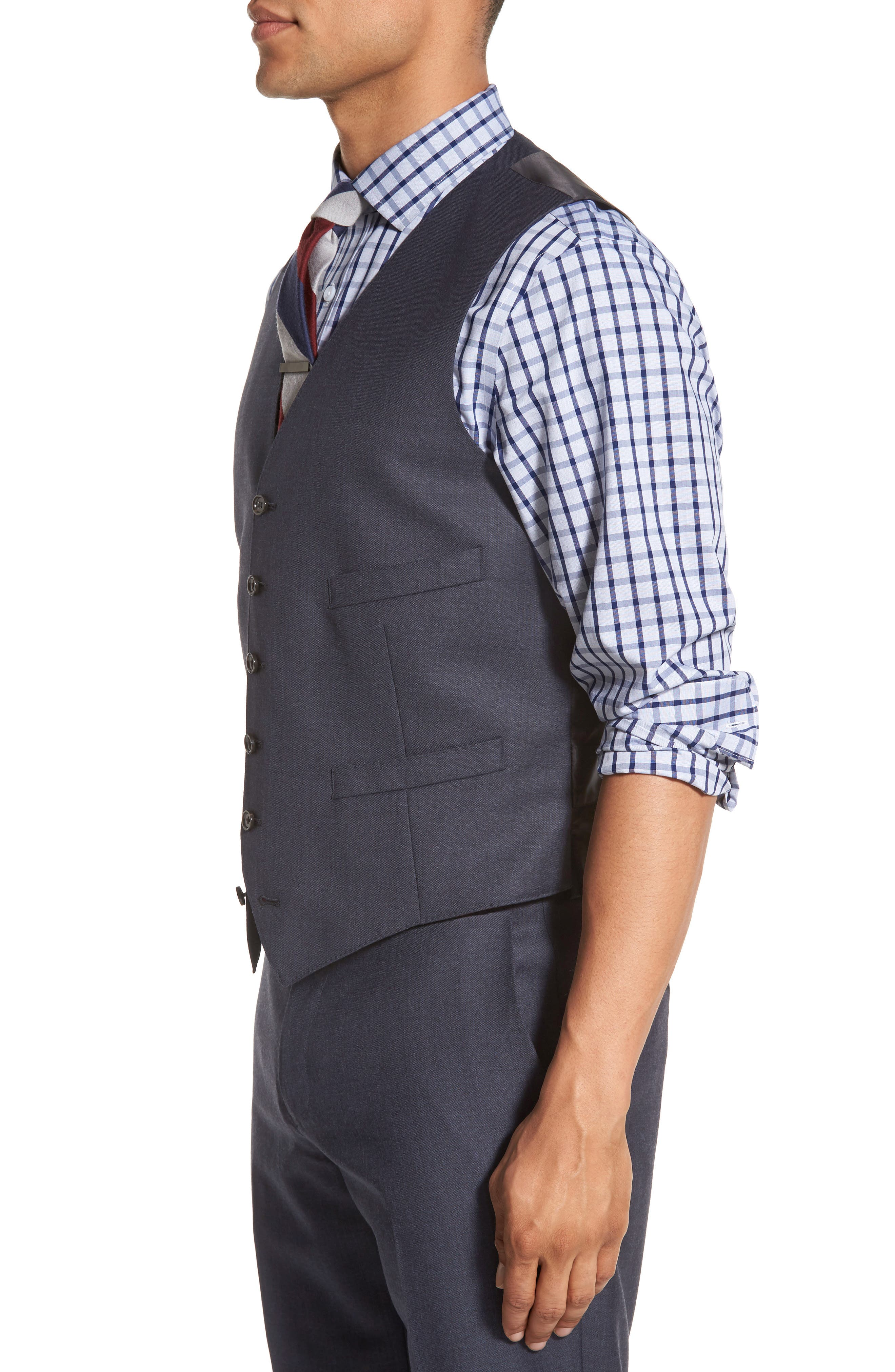 Ludlow Trim Fit Solid Wool Vest,                             Alternate thumbnail 3, color,                             410