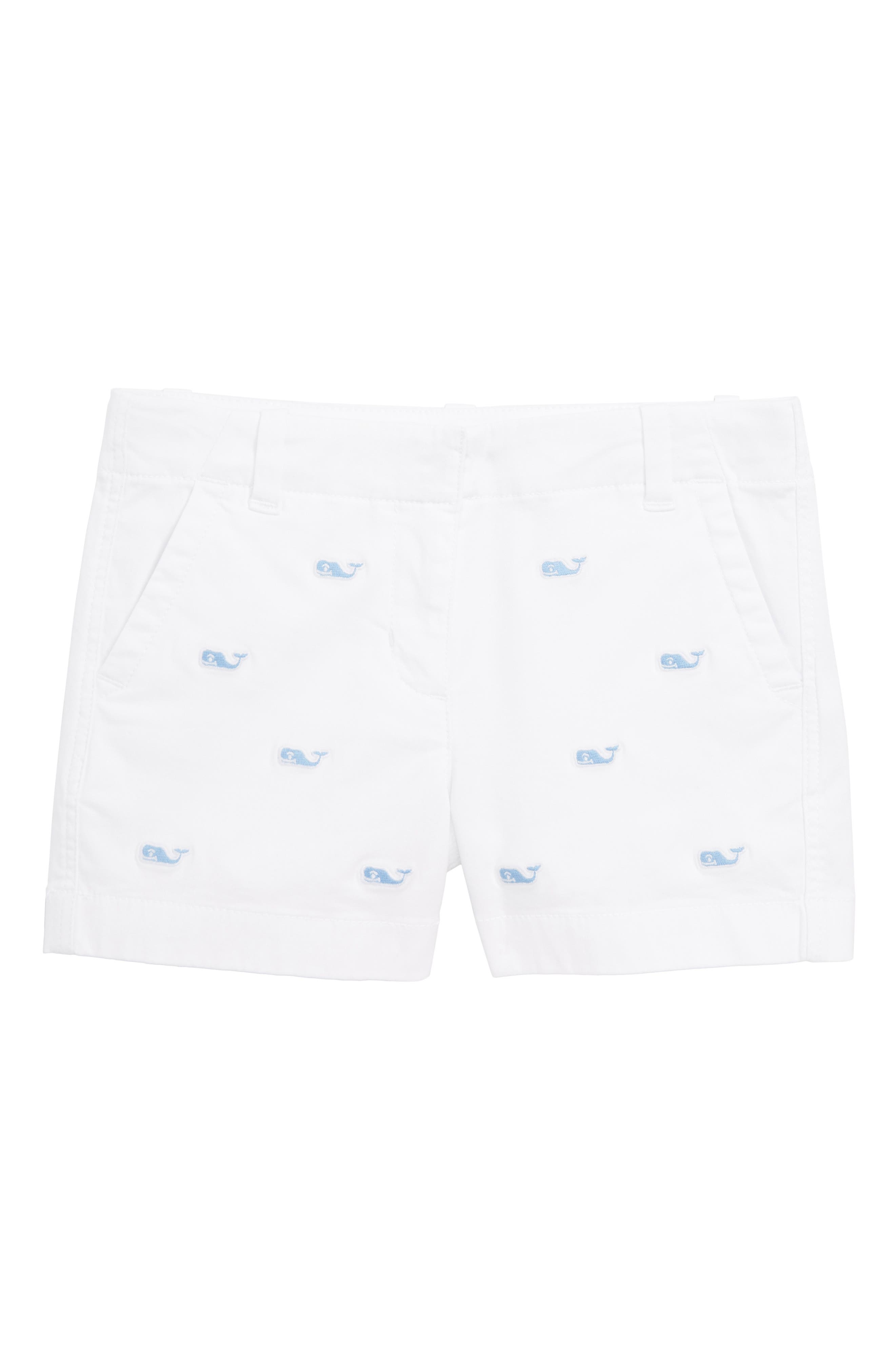 Whale Embroidered Chino Shorts,                             Main thumbnail 1, color,                             WHITE CAP