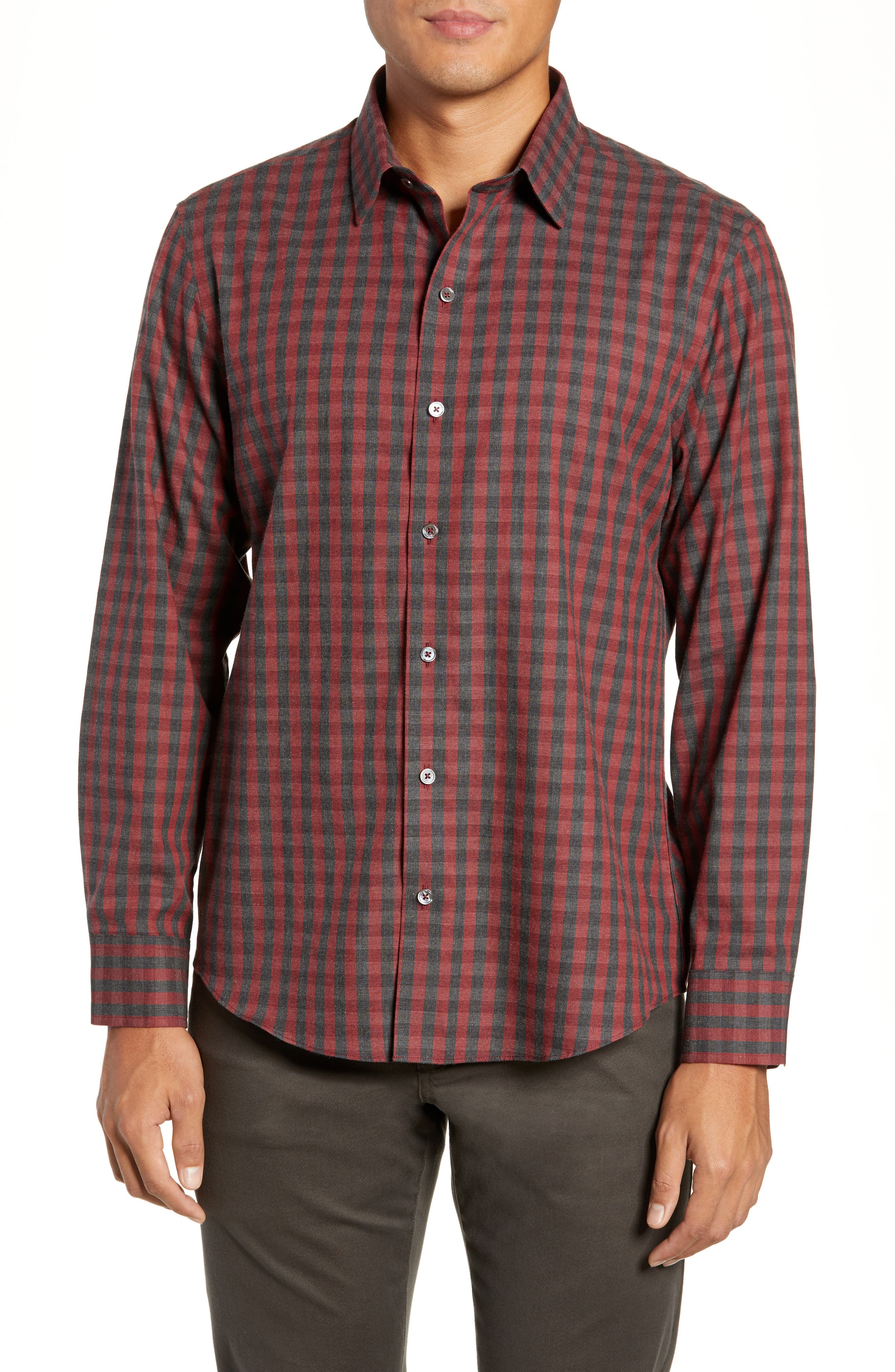 Lieberman Regular Fit Check Sport Shirt,                         Main,                         color, RED