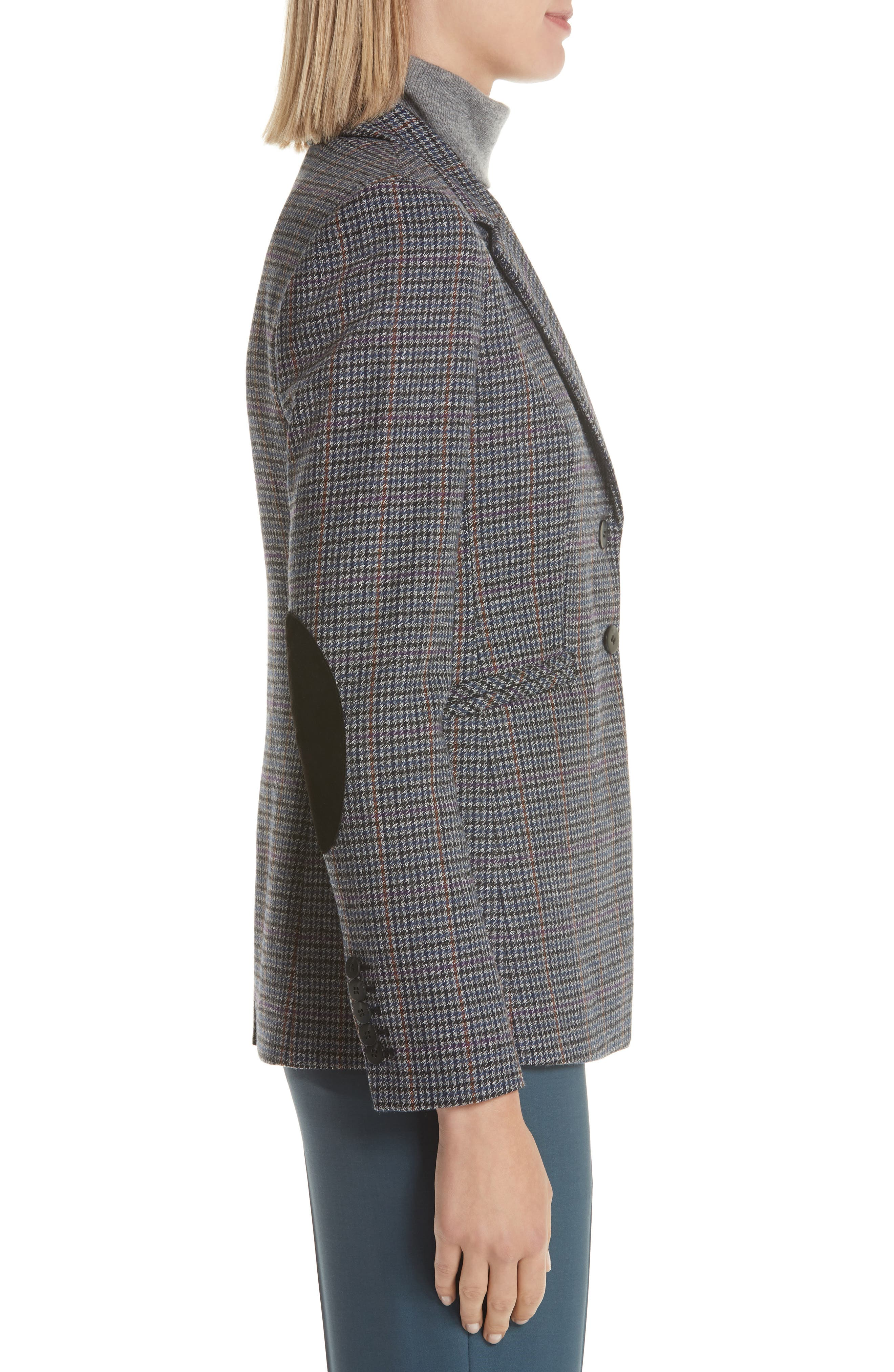 Elbow Patch Plaid Blazer,                             Alternate thumbnail 3, color,                             NAVY NIGHT HOUNDSTOOTH