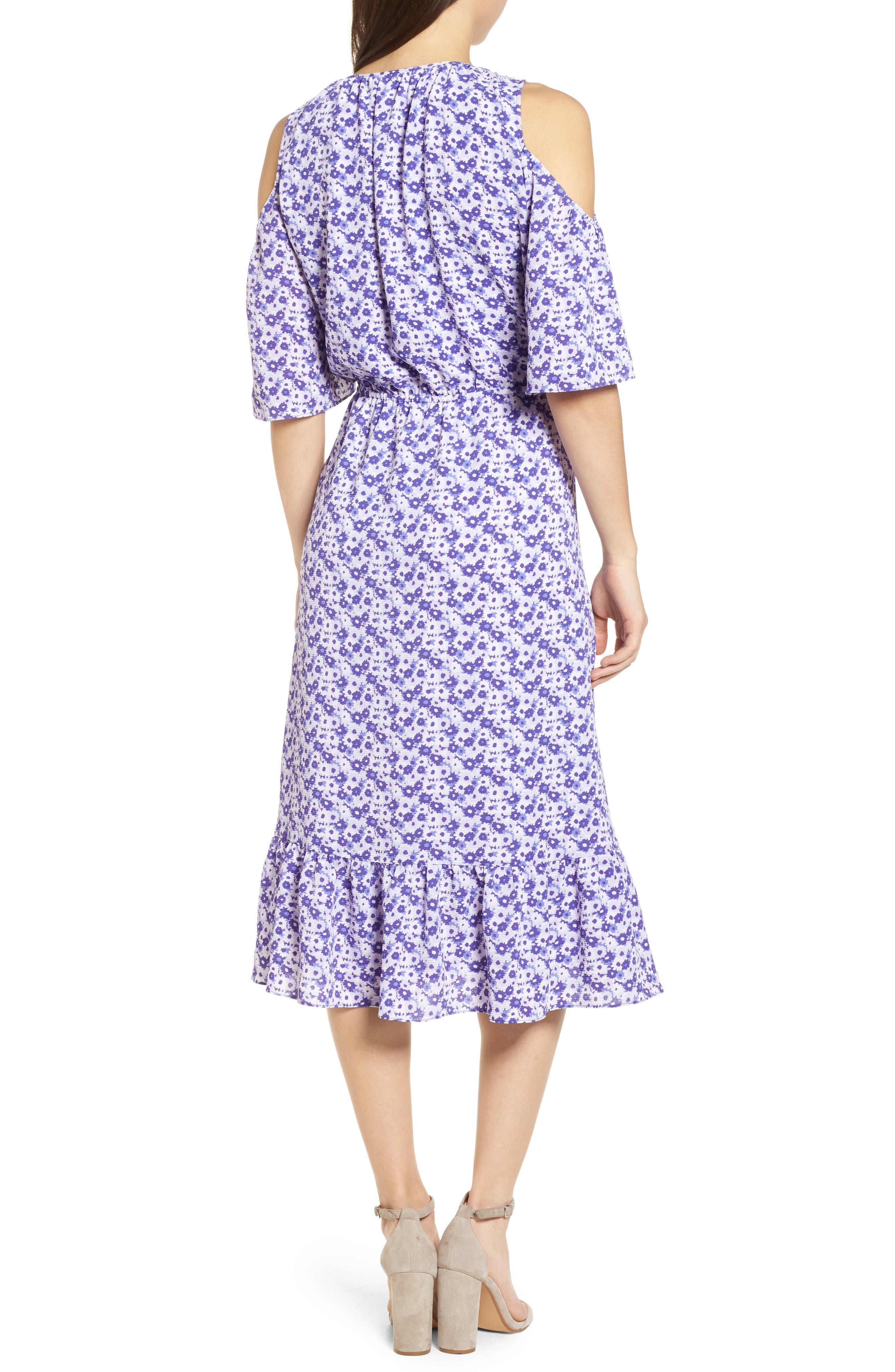 Ruffle Cold Shoulder Dress,                             Alternate thumbnail 2, color,                             580