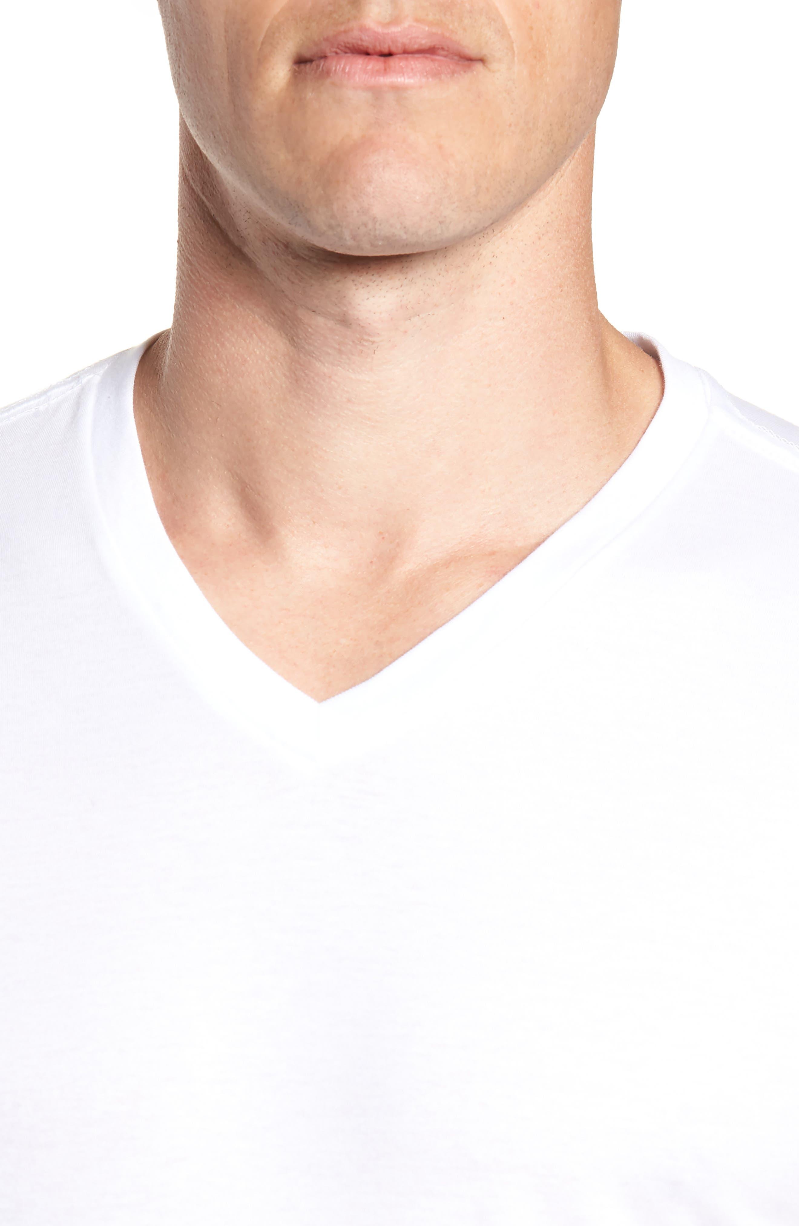 Polo Ralph Lauren 3-Pack Slim Fit V-Neck T-Shirts,                             Alternate thumbnail 5, color,                             WHITE