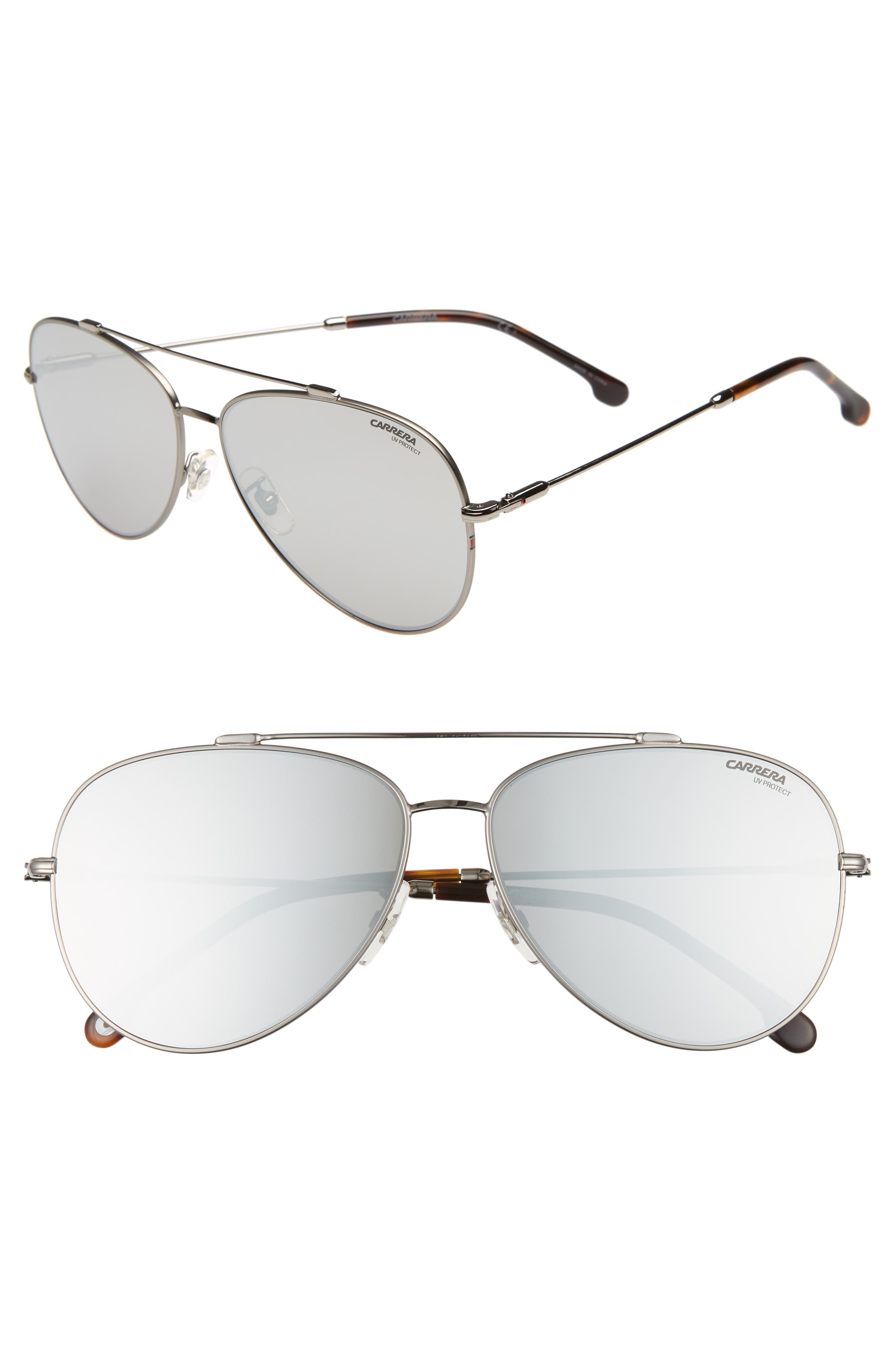 62mm Aviator Sunglasses,                         Main,                         color, RUTHENIUM