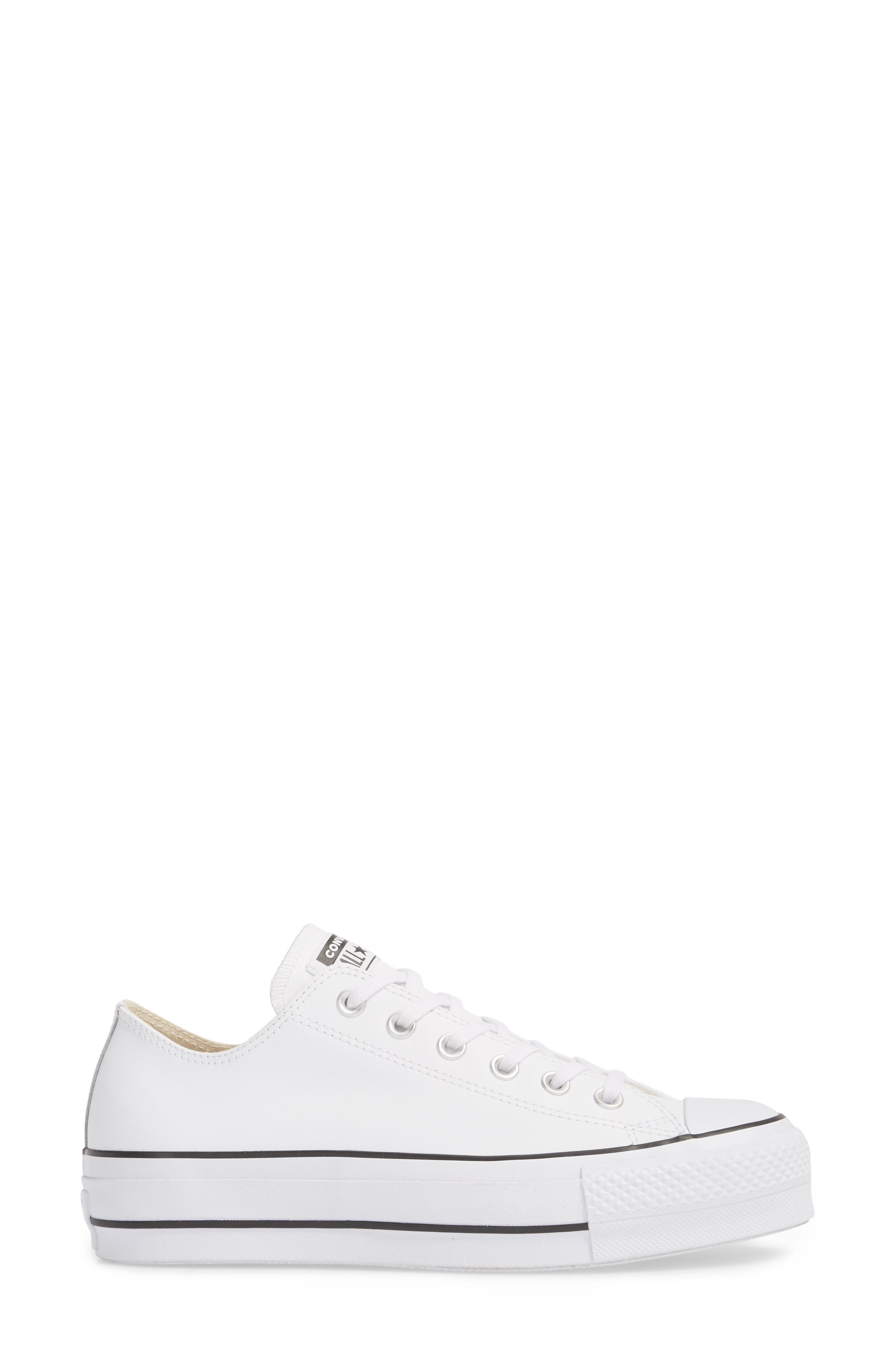 Chuck Taylor<sup>®</sup> All Star<sup>®</sup> Platform Sneaker,                             Alternate thumbnail 3, color,                             WHITE LEATHER