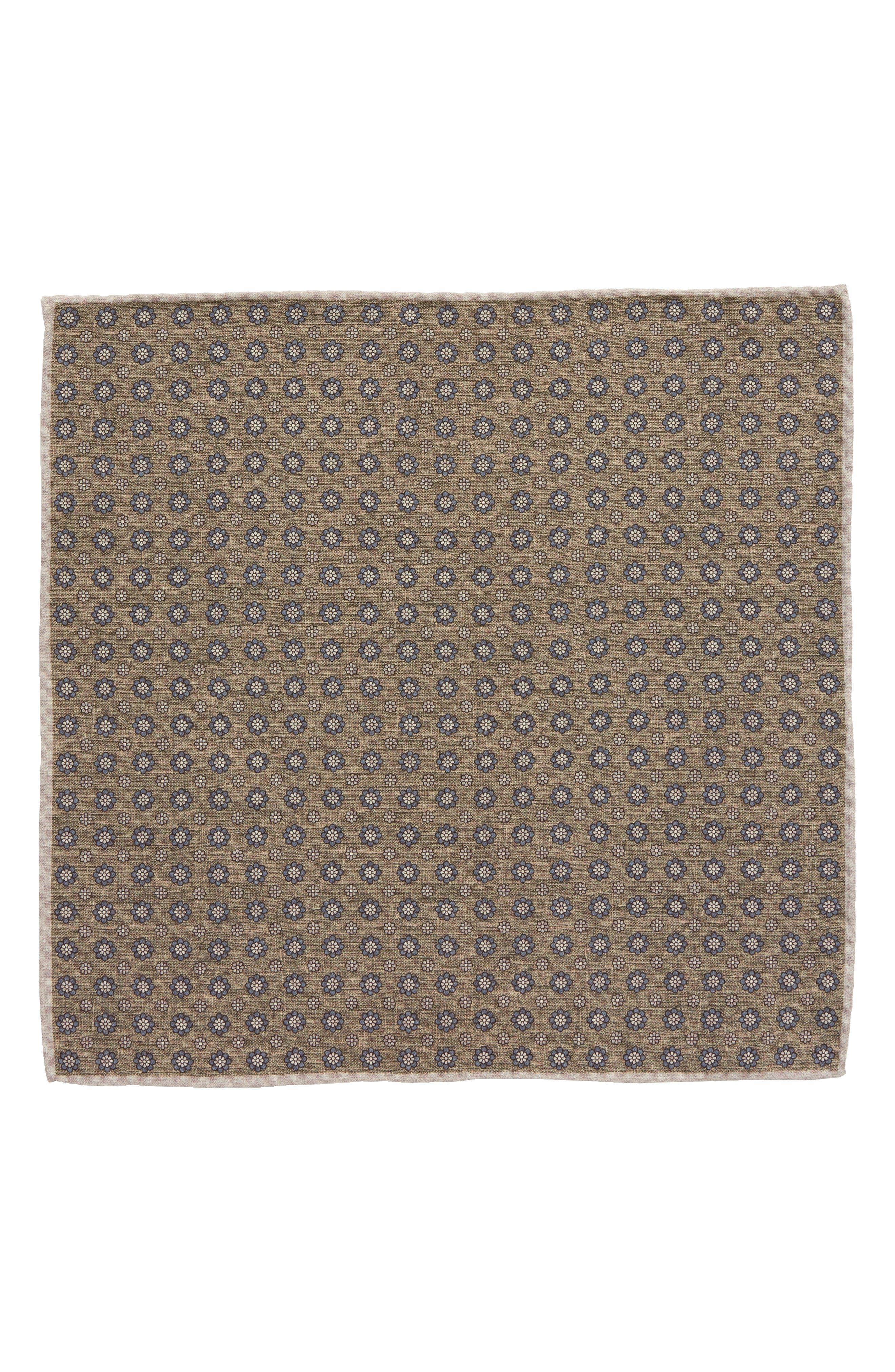 Medallion Wool & Cotton Pocket Square,                             Alternate thumbnail 2, color,                             328
