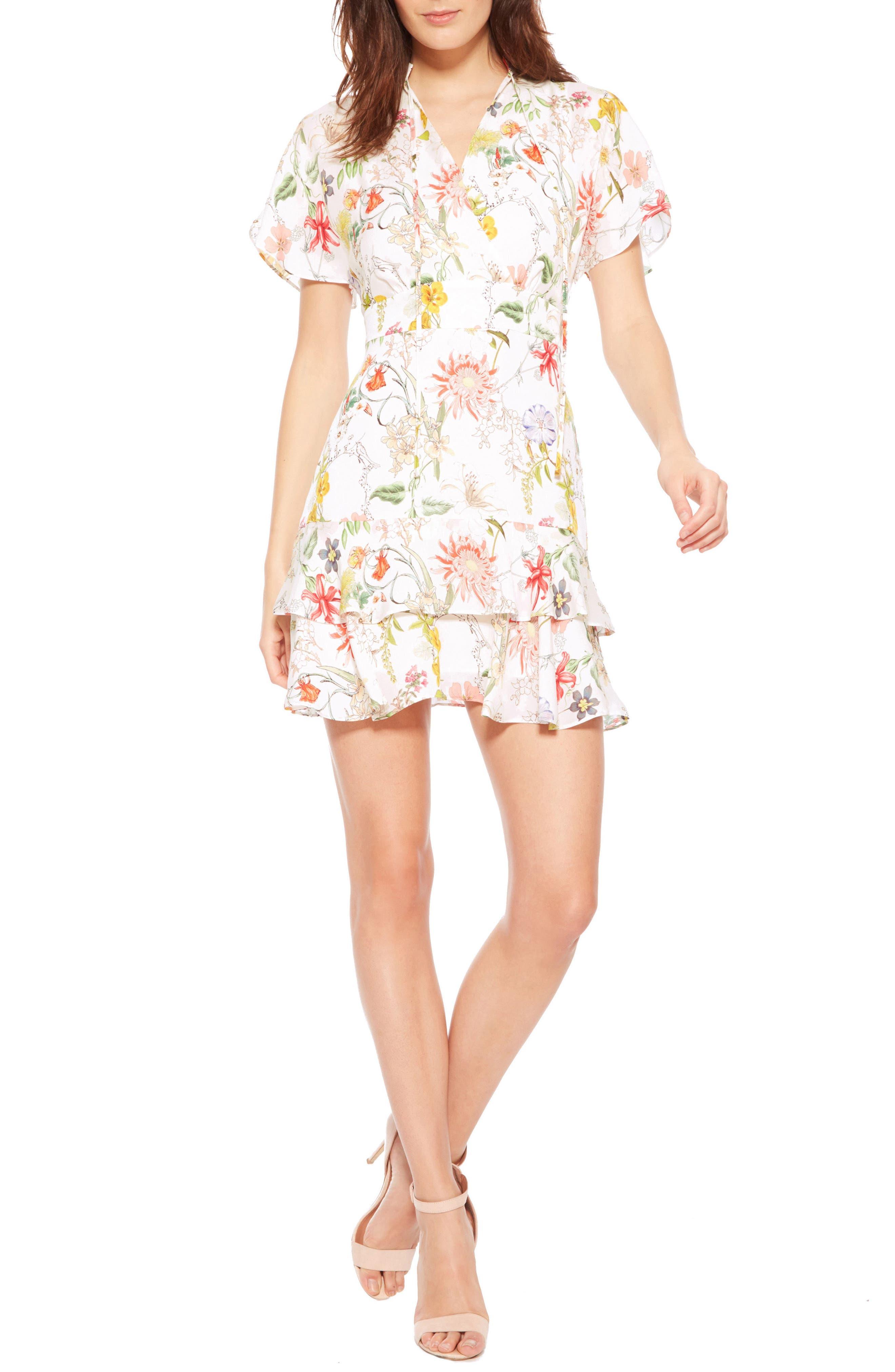 Natalie Floral Silk Dress,                             Alternate thumbnail 5, color,                             908