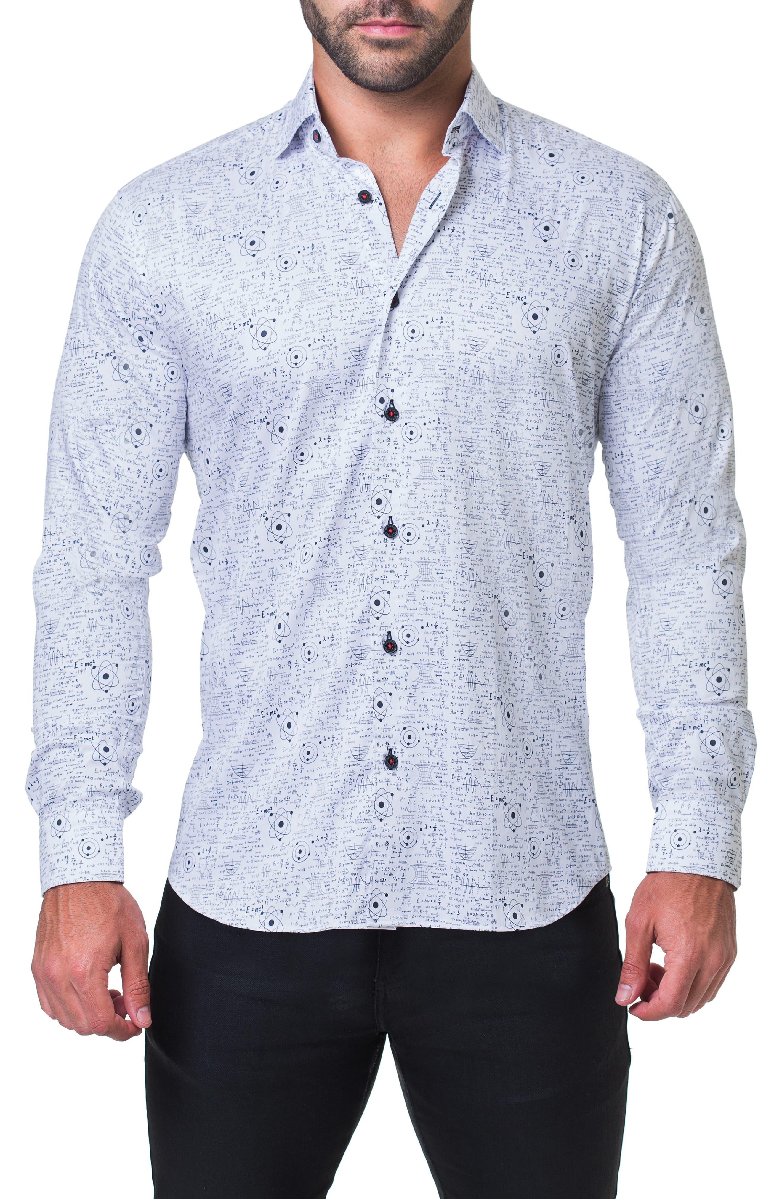 Fibonacci Genius Trim Fit Sport Shirt,                         Main,                         color, WHITE