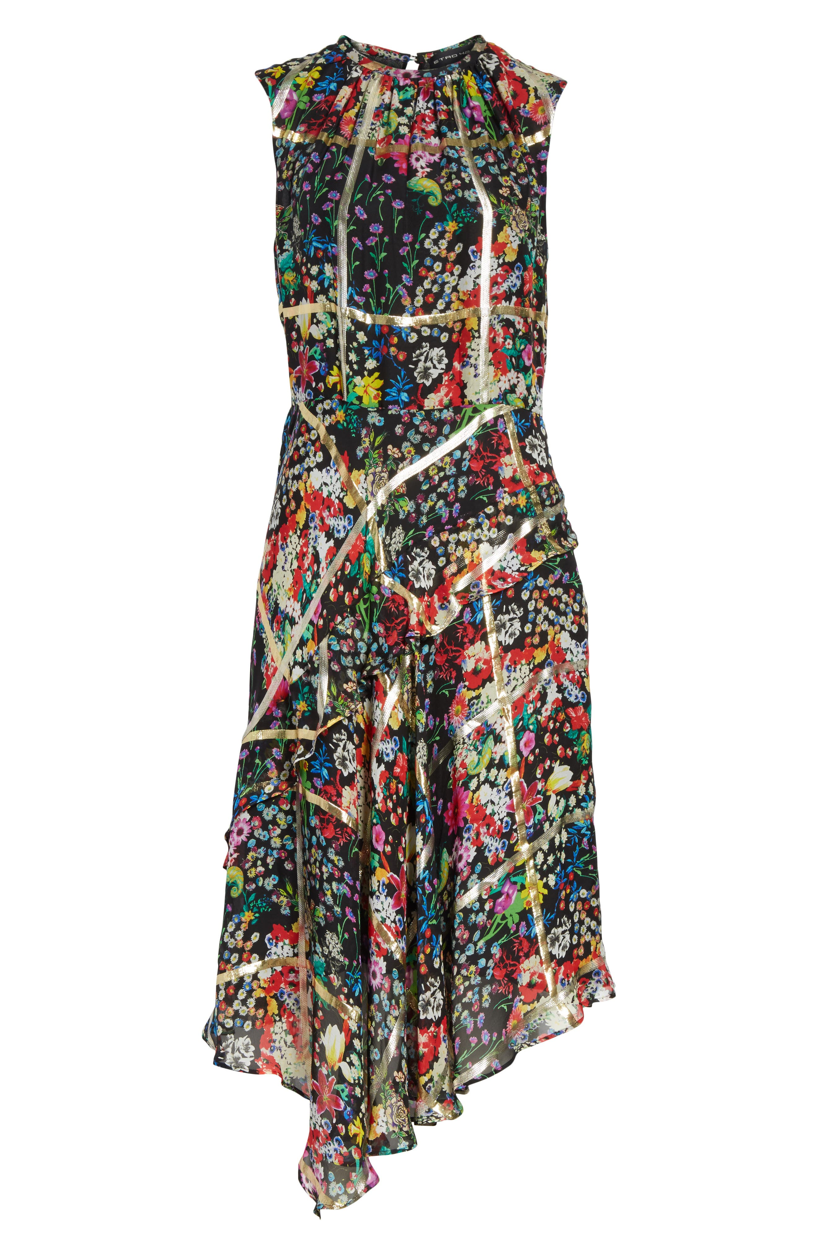 Metallic Grid Floral Print Silk Dress,                             Alternate thumbnail 6, color,                             001