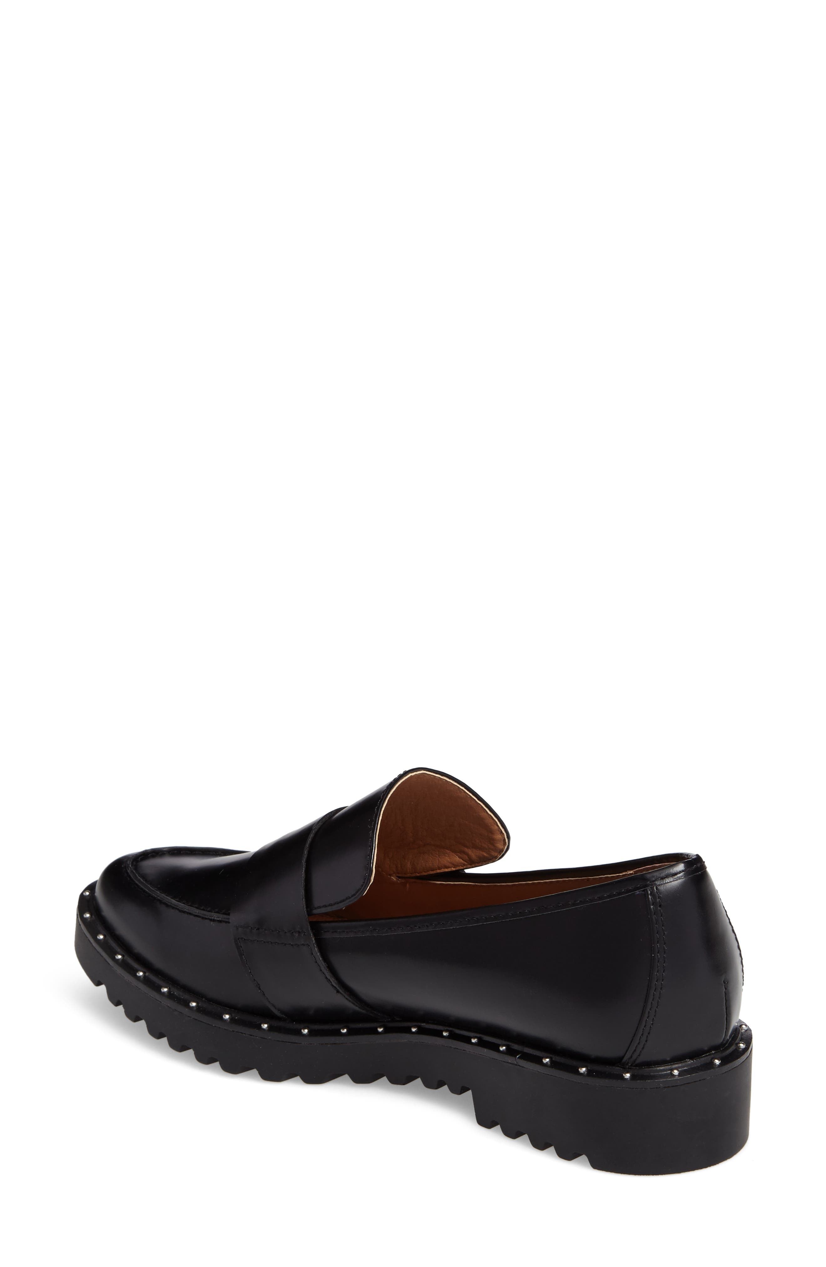 Emily Studded Genuine Calf Hair Flat,                             Alternate thumbnail 2, color,                             001